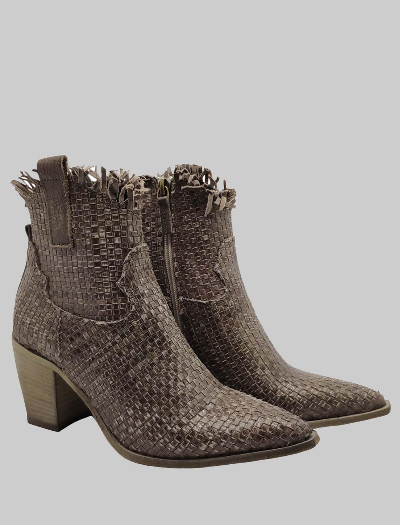 Calzature Donna Stivaletti Texani in Pelle Intreciata Sabbia con zip Laterale e Suola in Cuoio Mimmu   Stivaletti   4947PIETRA