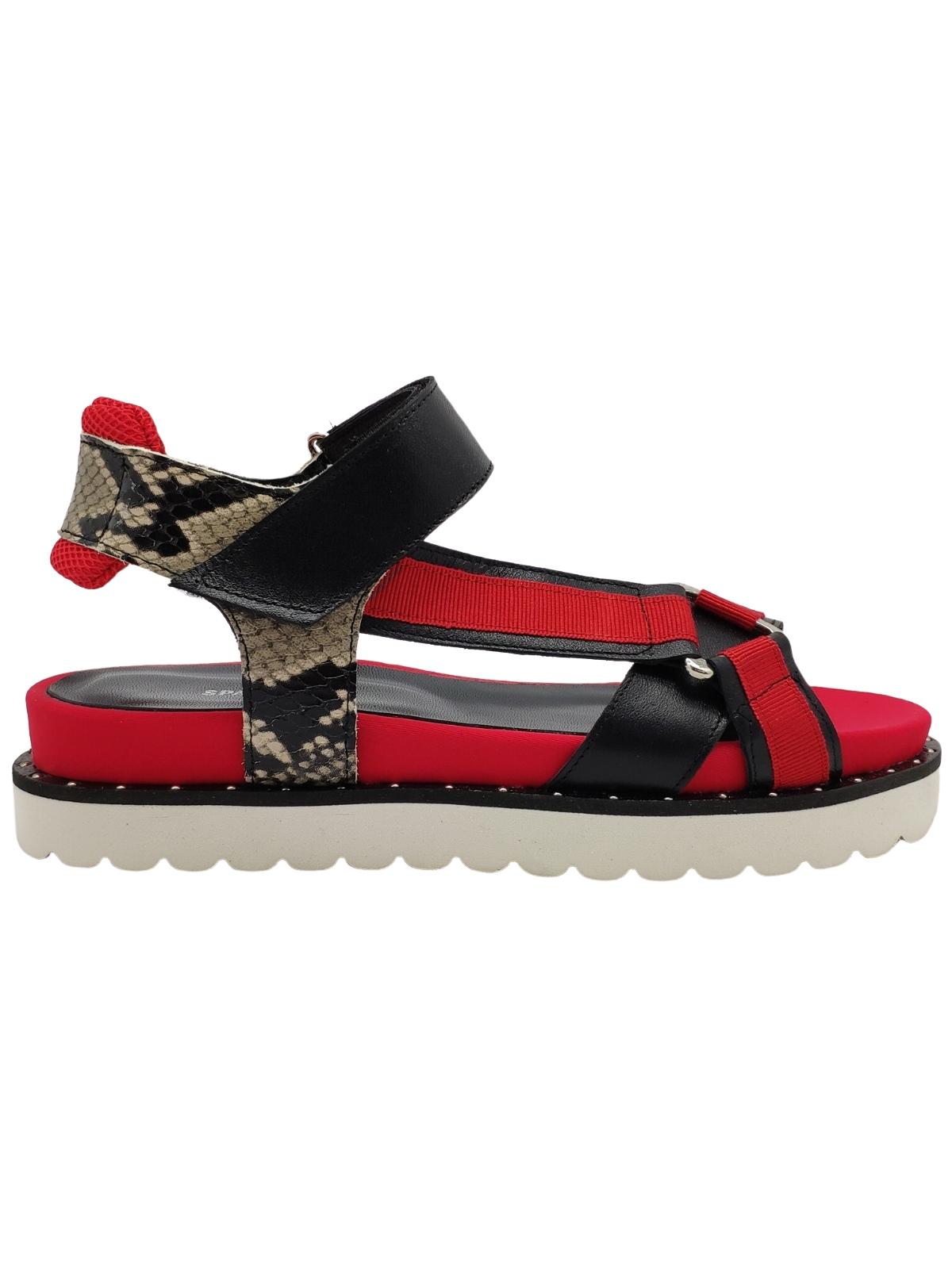 Calzature Donna Sandali In Tessuto Rosso e Pelle Nera Con Cinturino Velcro e Fondo Gomma Carrarmato Spatarella | Sandali | S200ROSSO