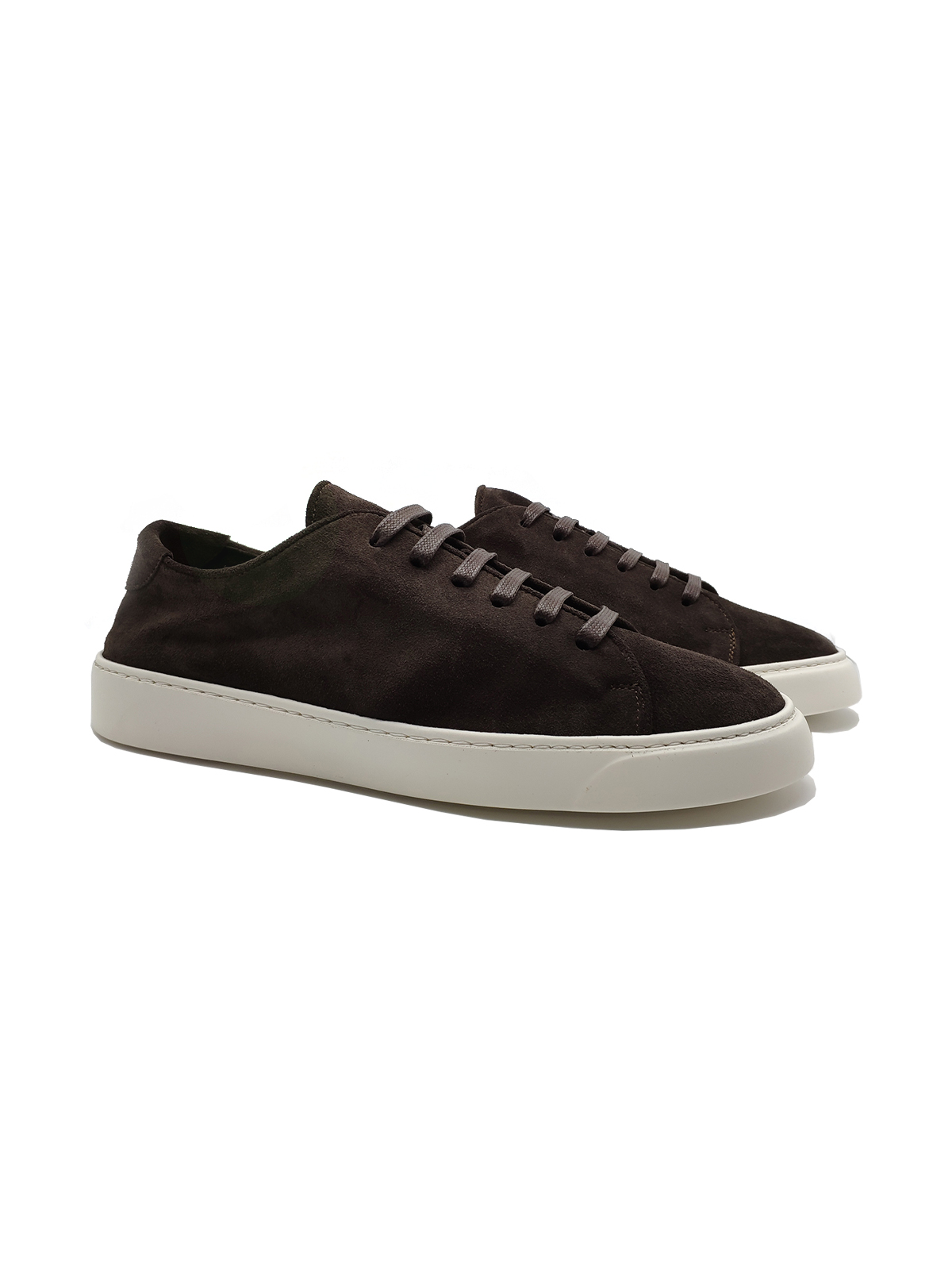 Calzature Uomo Sneakers Stringate in Camoscio Sfoderato Testa di Moro con Fondo Gomma Bianco Jerold Wilton   Sneakers   1045MORO