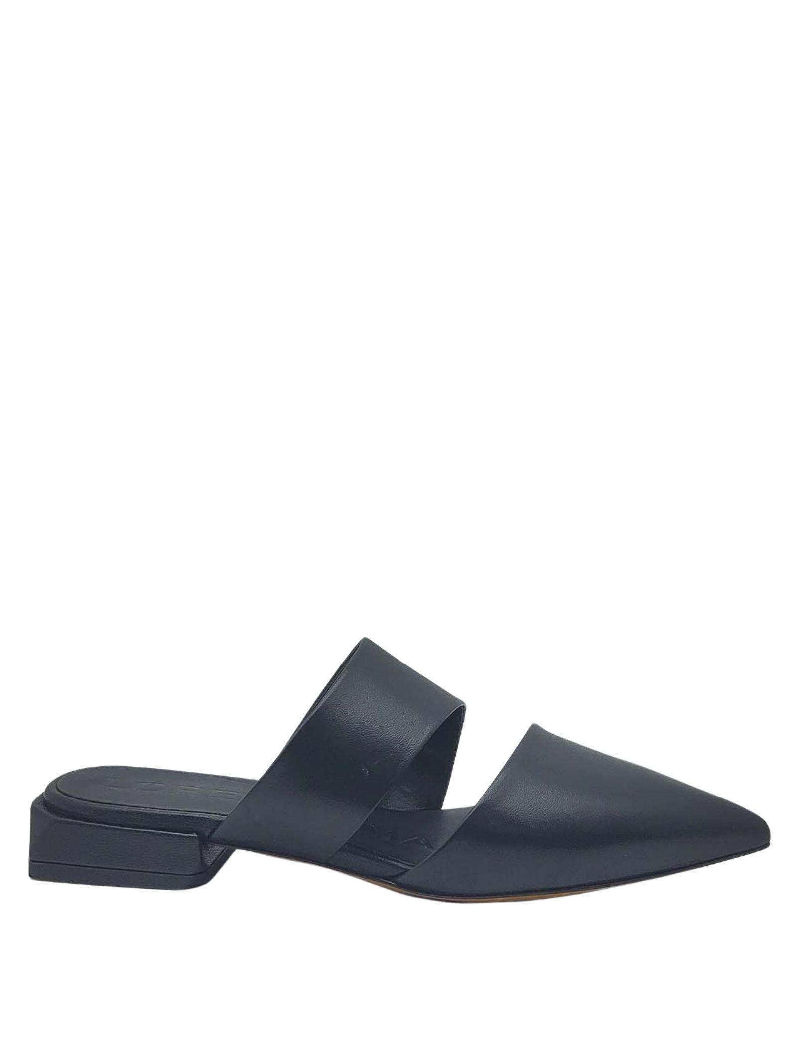 Women's Shoes Black Leather Mule Sandals with Double Band Lorenzo Mari | Sandals | PURITANI001