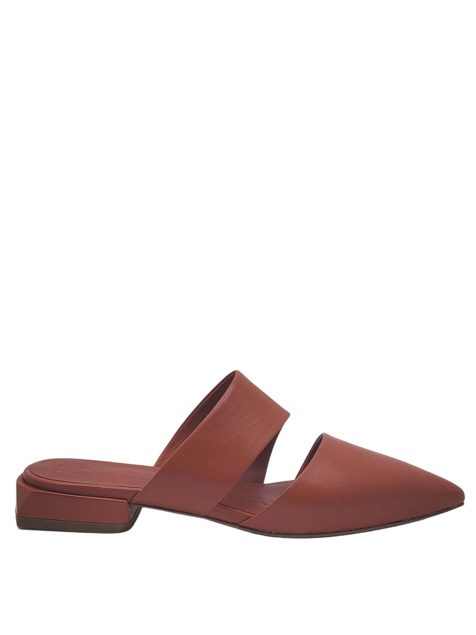 Women's Shoes Mule Sandals in Dark Leather with Double Band Lorenzo Mari | Sandals | PURITANI030
