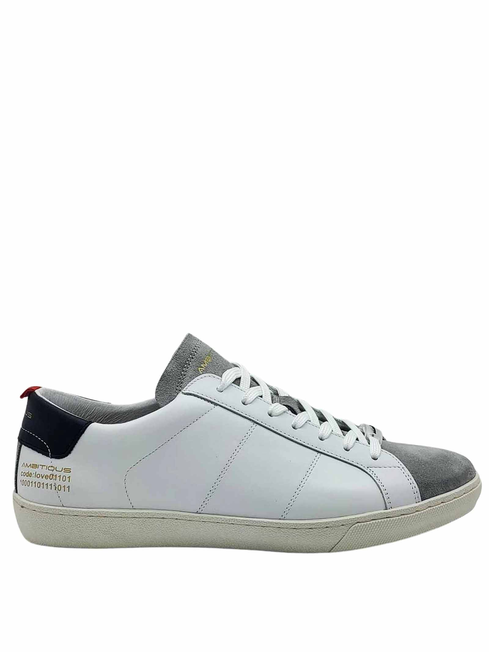 Shoes Sneakers Men Lace-up in White Leather and Off White Suede with Rubber Bottom Ambitious | Sneakers | 8102100