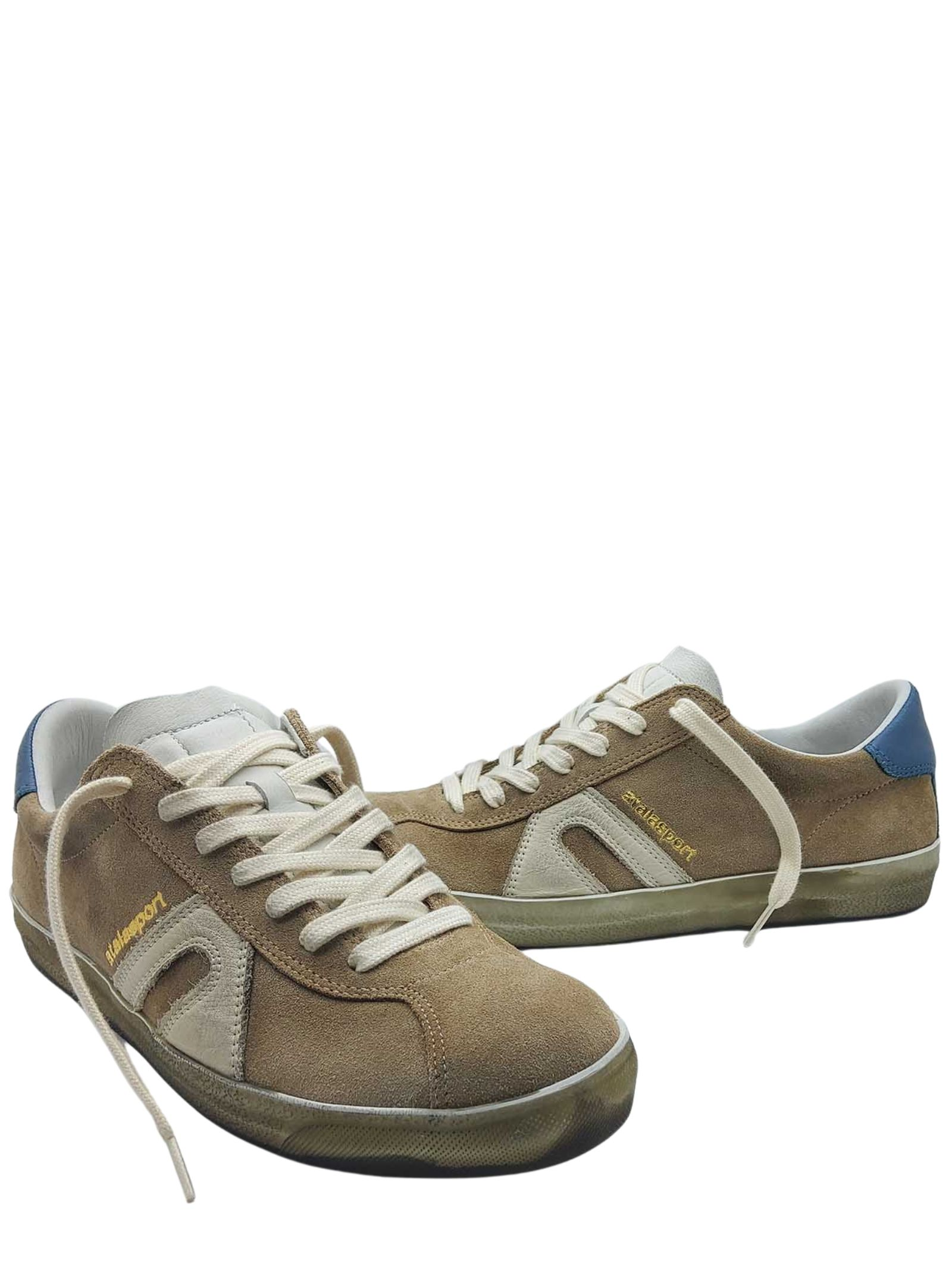 Men's Shoes Sneakers Lace-up in Beige Suede with Vintage Honey Bottom Atala | Sneakers | 10022015