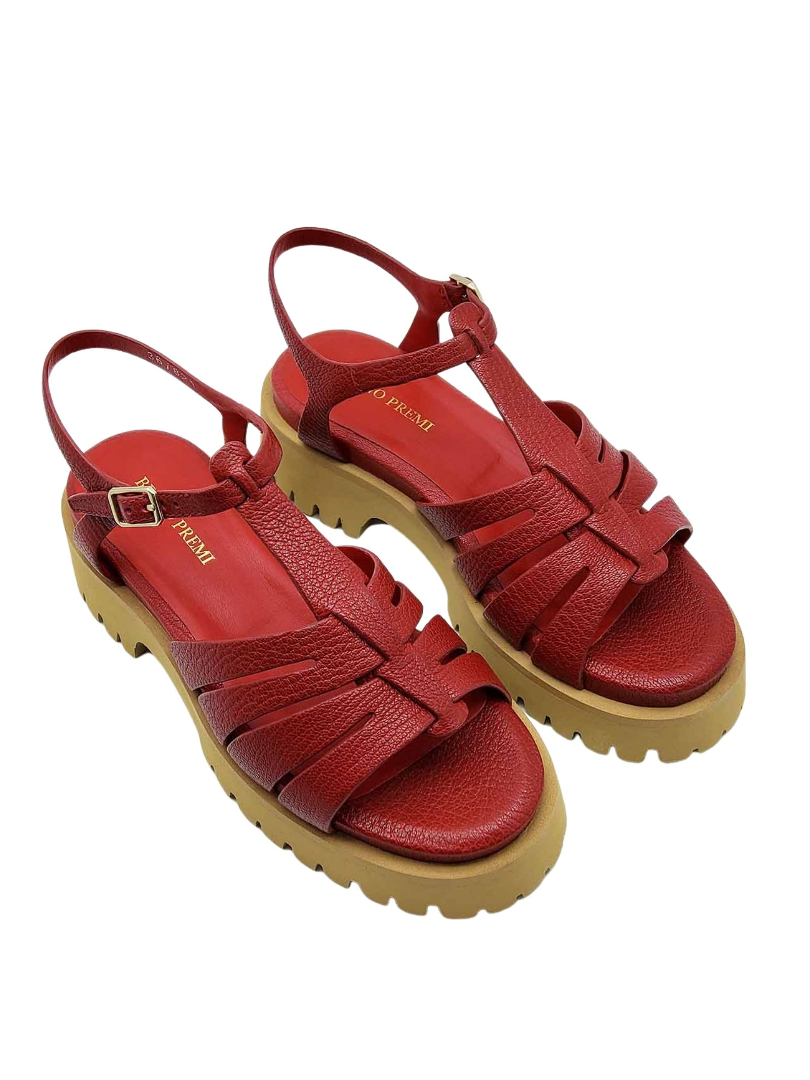 Women's Shoes Sandals in Red Leather with Tank Bottom and Ankle Strap Bruno Premi | Wedge Sandals | BB0202X017