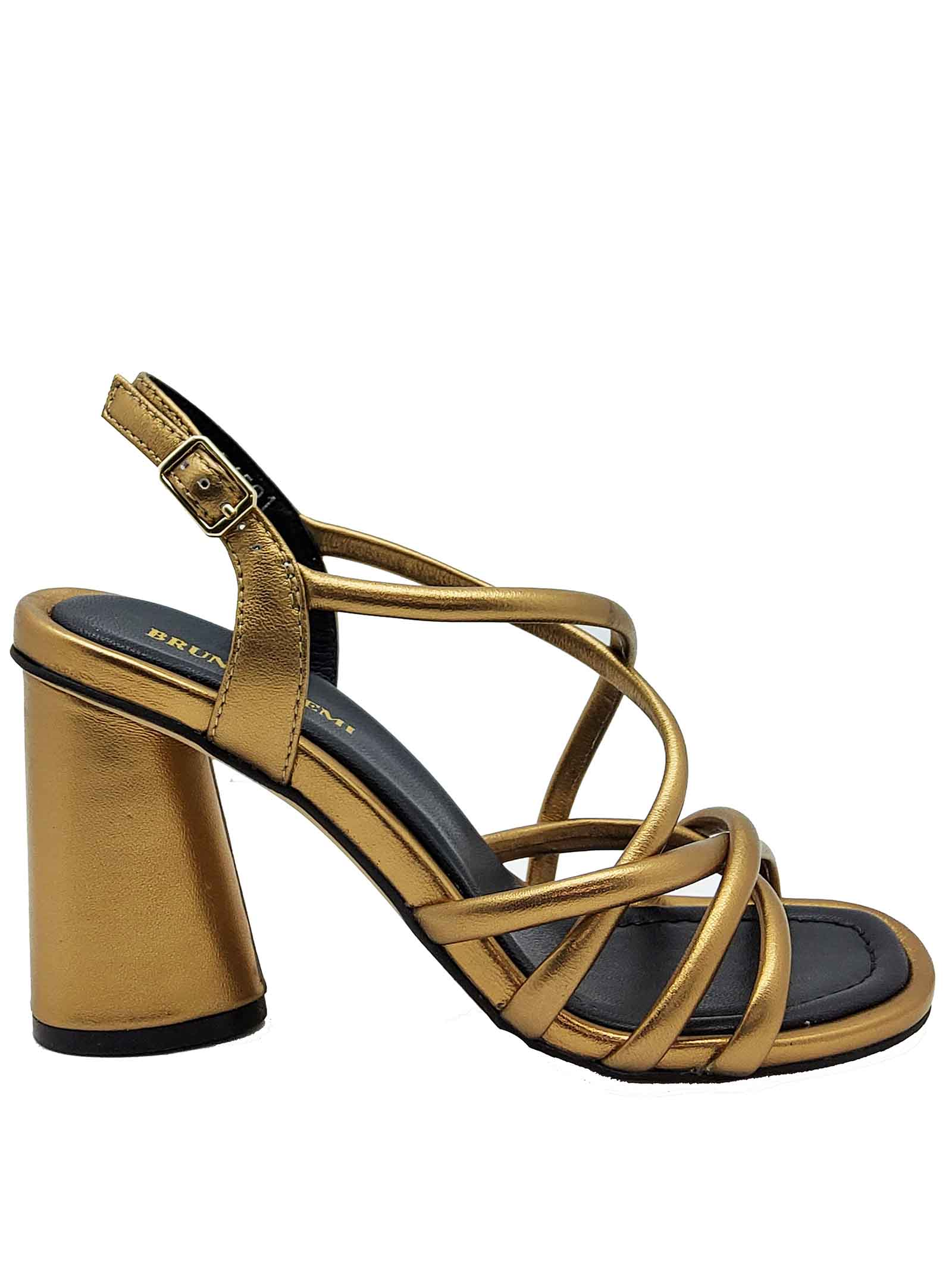 Women's Shoes Gold Laminated Leather Sandals with Foot Neck Strap and Ankle Strap Bruno Premi | Sandals | BB1703X602