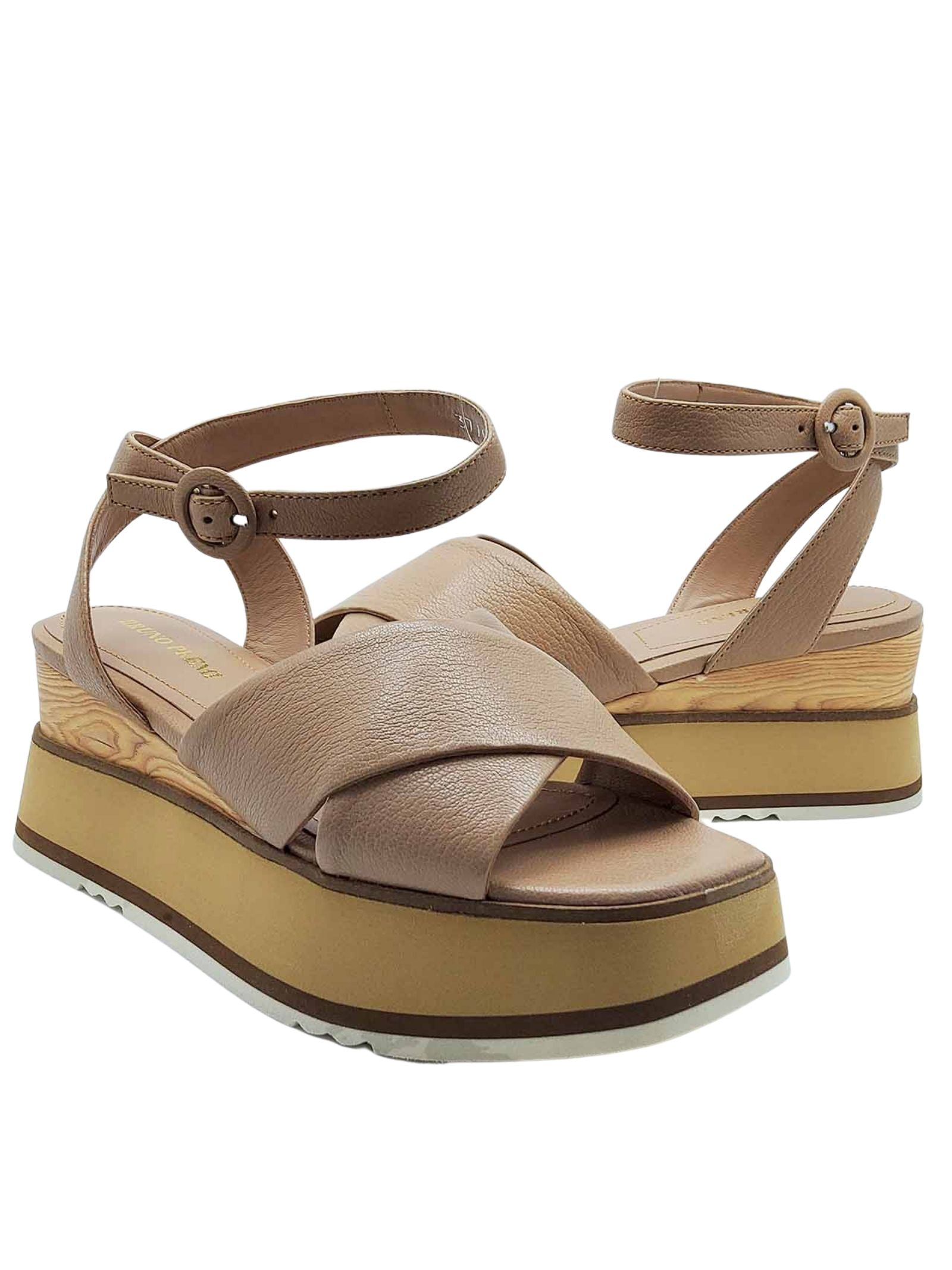 Women's Shoes Sandals in Nude Cross Leather with Ankle Strap and Wooden Wedge Bruno Premi   Wedge Sandals   BB2602X014