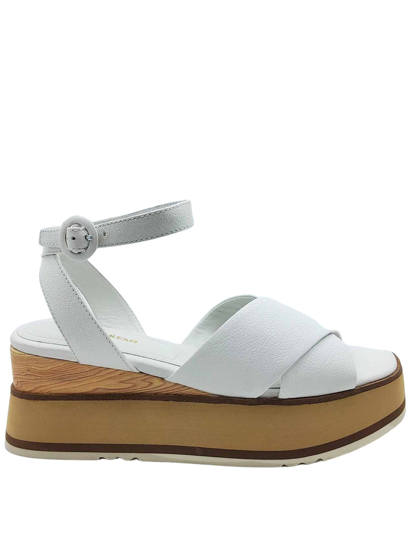 Women's Shoes White Leather Cross Sandals with Ankle Strap and Wooden Wedge Bruno Premi | Wedge Sandals | BB2602X100