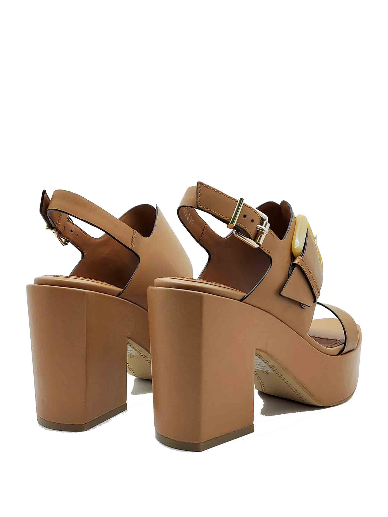 Women's Shoes Leather Sandals with Side Buckle Back Strap and High Wedge Bruno Premi | Wedge Sandals | BB3002X300