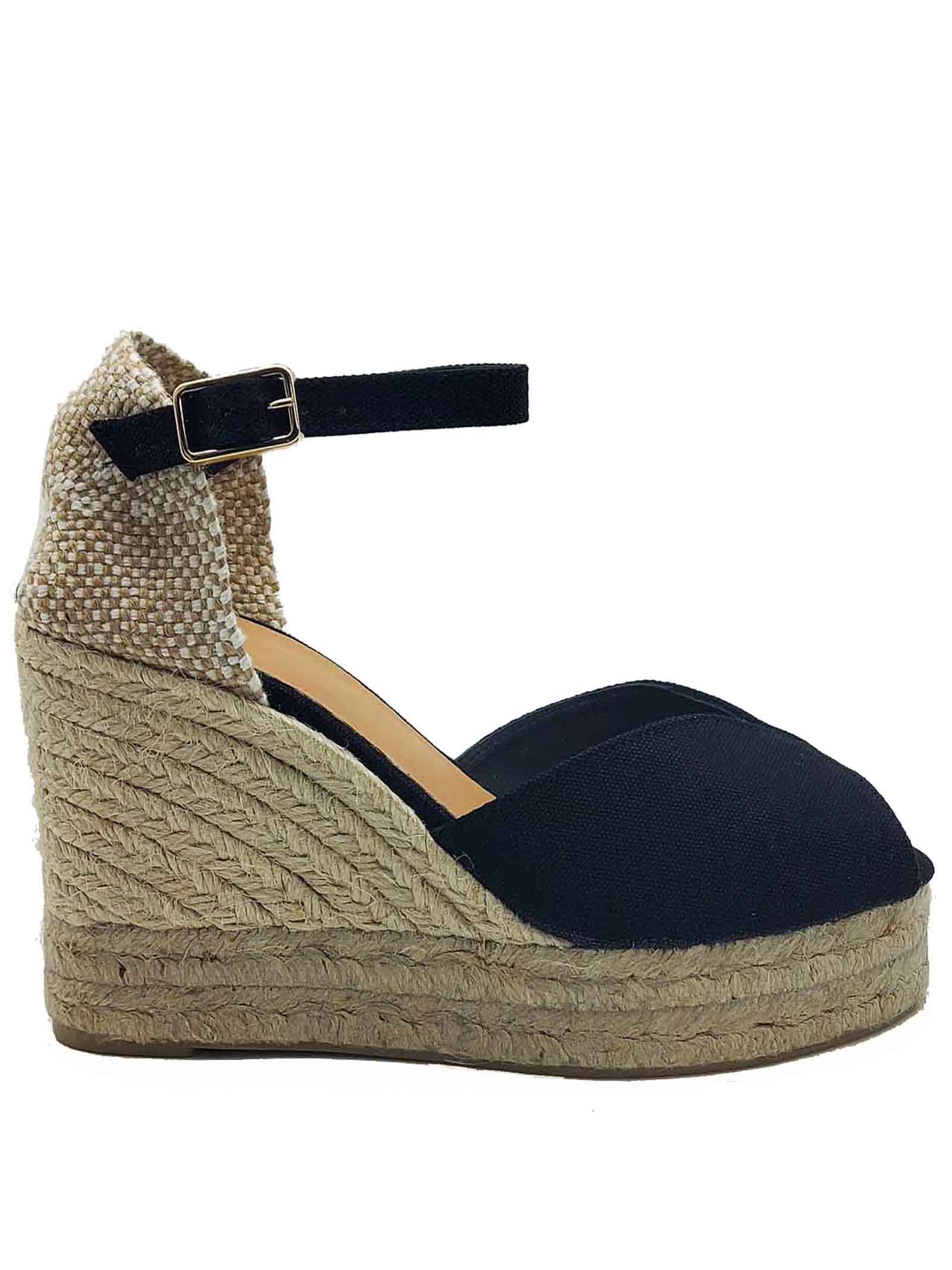 Women's Shoes Sandals Espadrilles in Pink Canvas with Ankle Strap and High Wedge in Rope Castaner | Wedge Sandals | BIANCA001