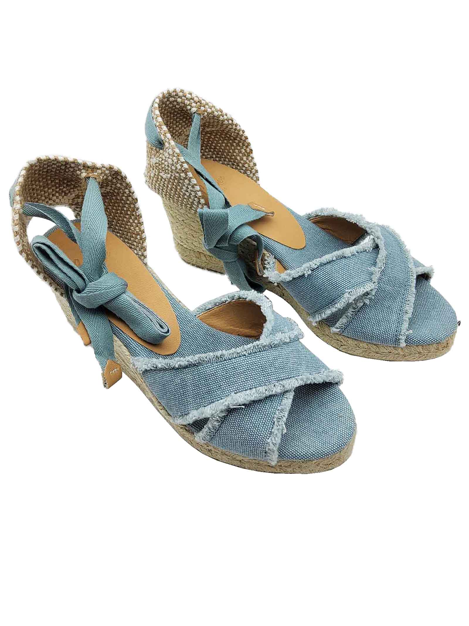 Women's Shoes Sandals Espadrilles in Light Blue Canvas with Laces at the Ankle and Low Wedge in Rope Castaner | Wedge Sandals | BLUMA003