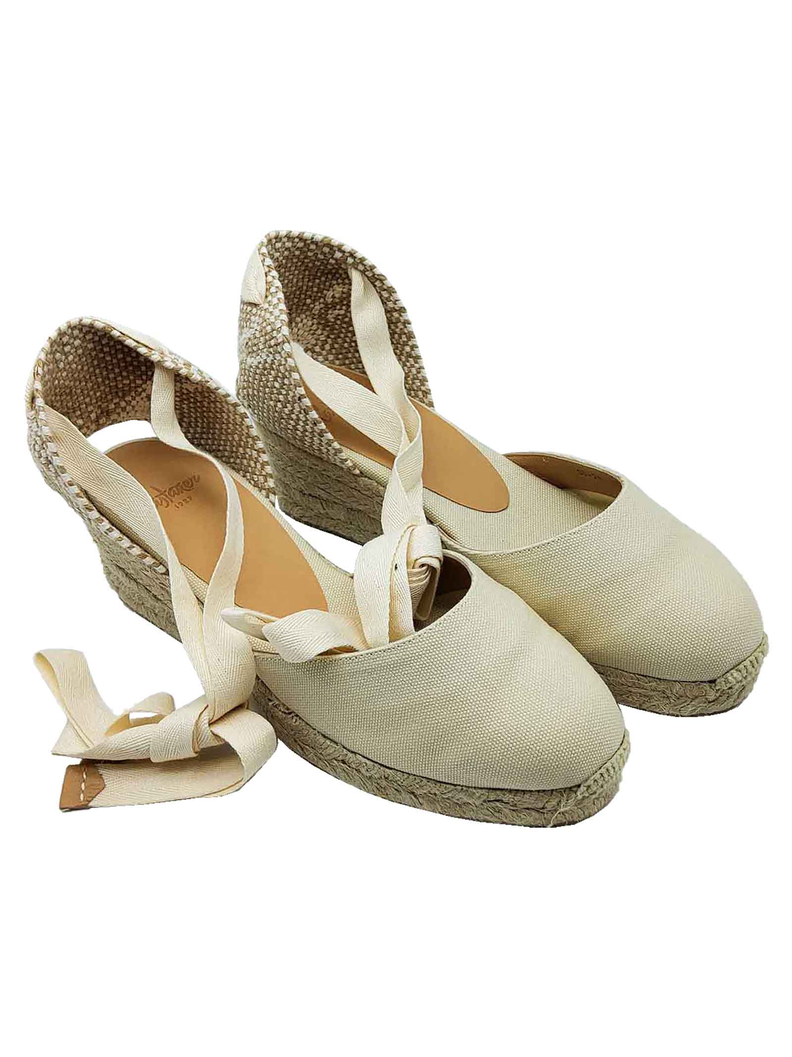 Women's Shoes Beige Canvas Espadrilles Sandals with Closed Toe Ankle Laces and Low Rope Wedge Castaner | Wedge Sandals | CARINA016