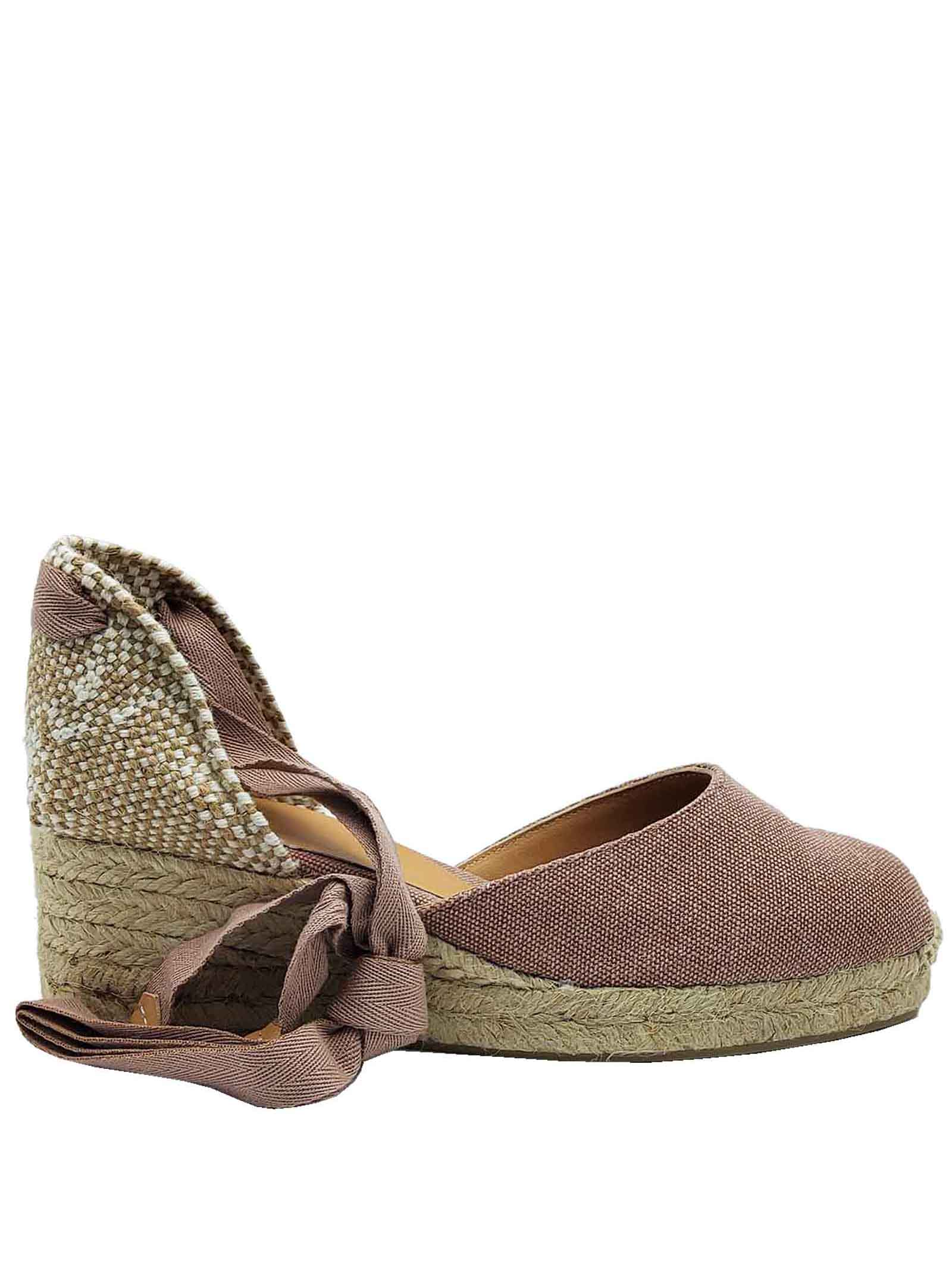Women's Shoes Sandals Espadrilles in Pink Canvas with Closed Toe Ankle Laces and Low Rope Wedge Castaner | Wedge Sandals | CARINA300