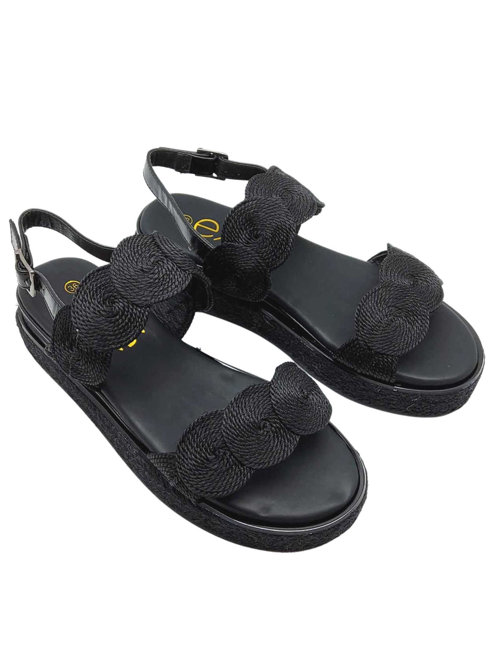 Women's Shoes Black Fabric Sandals with Back Strap and Rope Wedge Exe | Wedge Sandals | 2057001