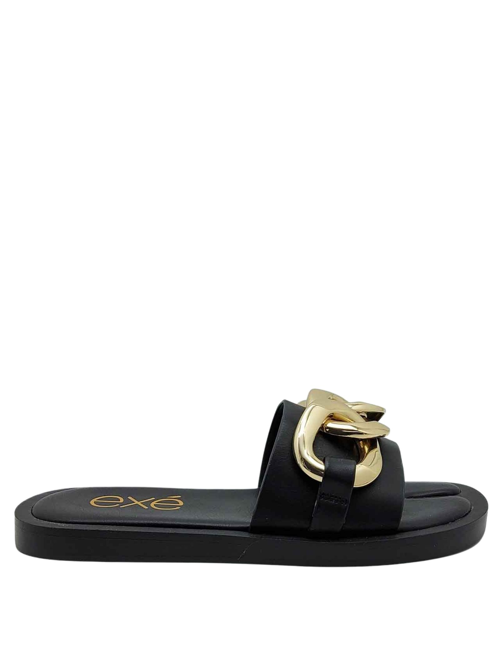 Women's Shoes Sandals in Black Eco Leather with Gold Chain and Low Wedge in Black Rubber Exe | Flat sandals | 273001
