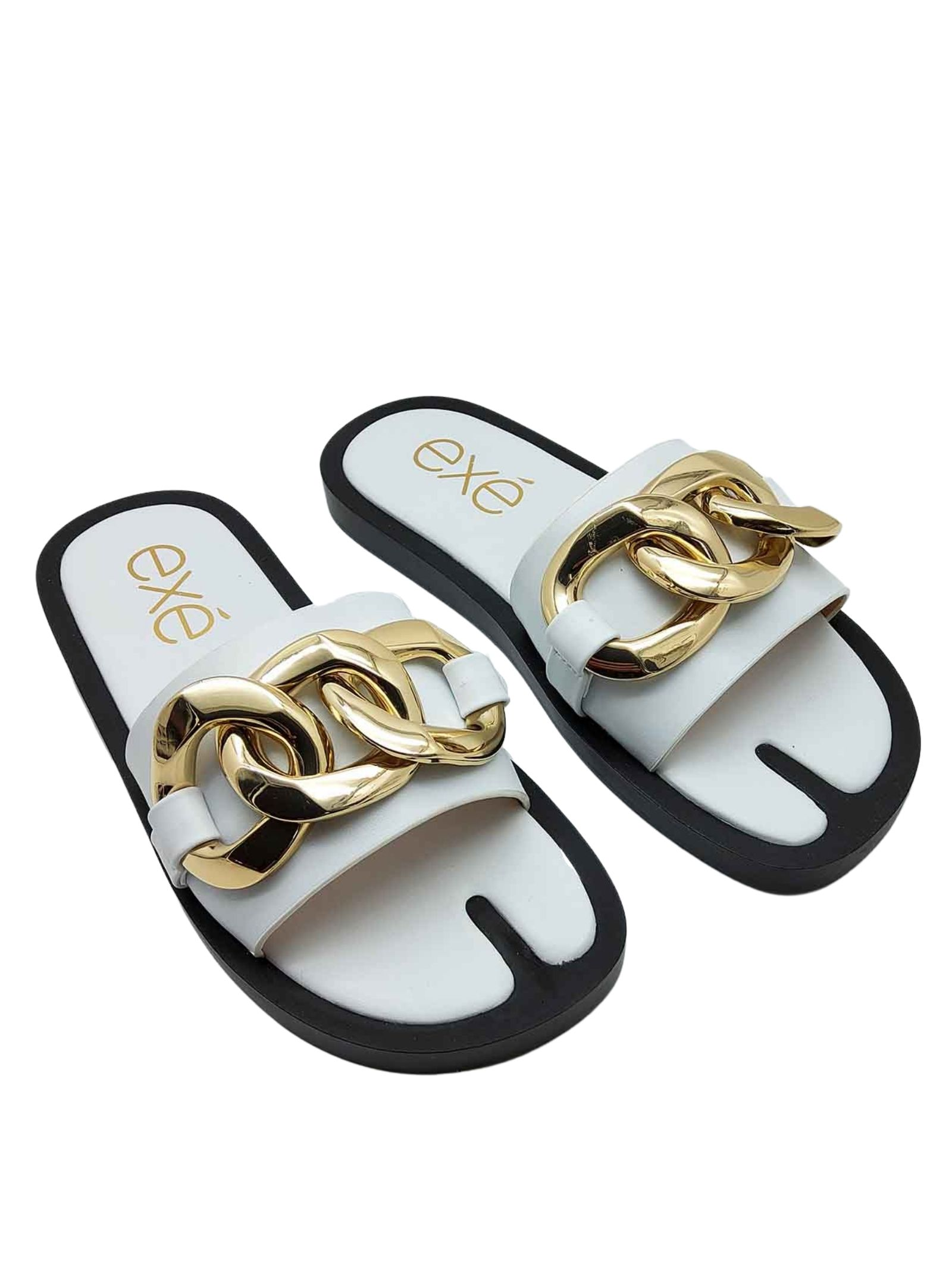Women's Shoes Sandals in White Eco Leather with Gold Chain and Low Wedge in Black Rubber Exe | Flat sandals | 273100