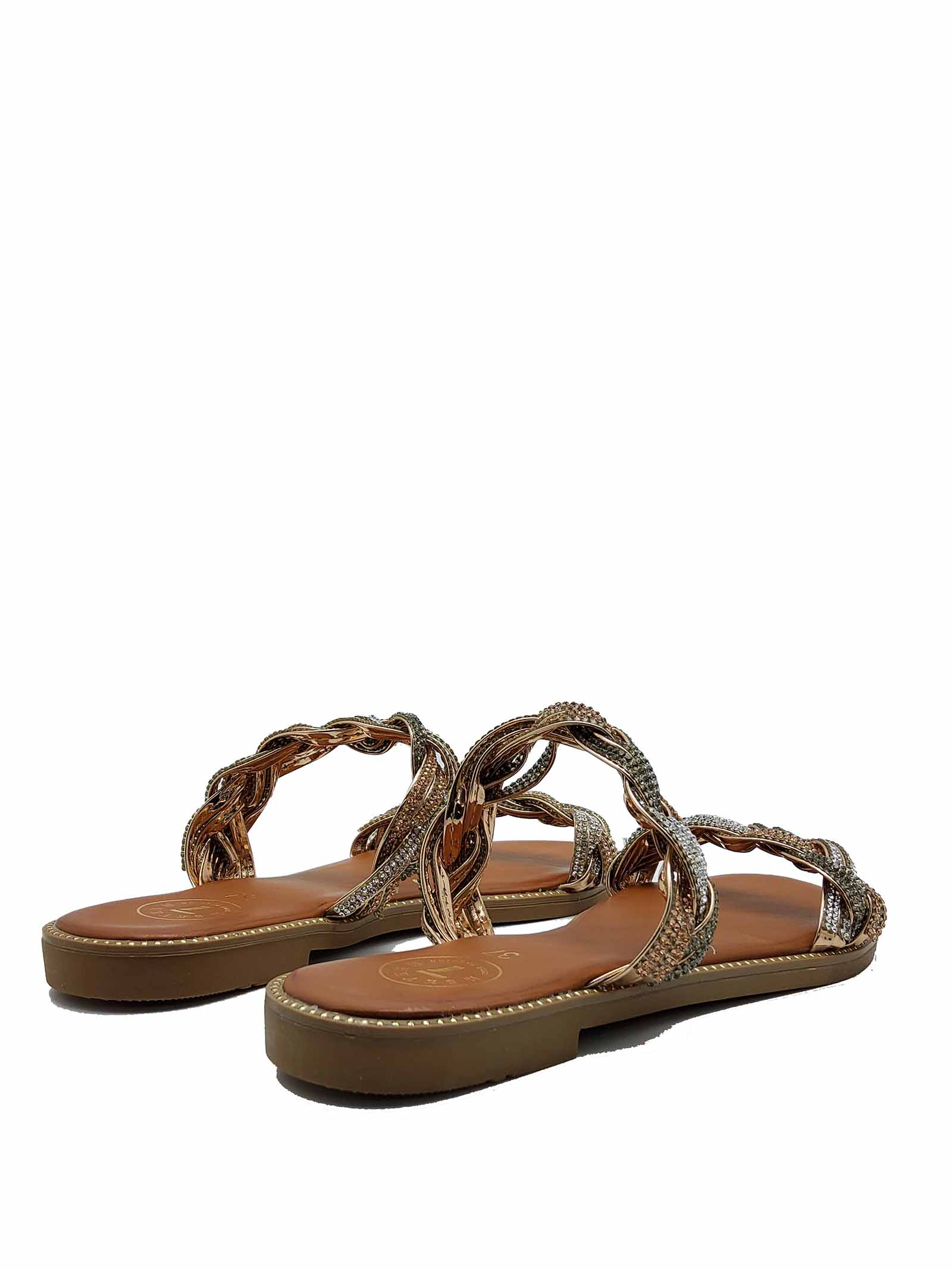 Women's Shoes Low Sandals with Double Gold and Silver Chain and Rubber Sole Exe   Flat sandals   3374604