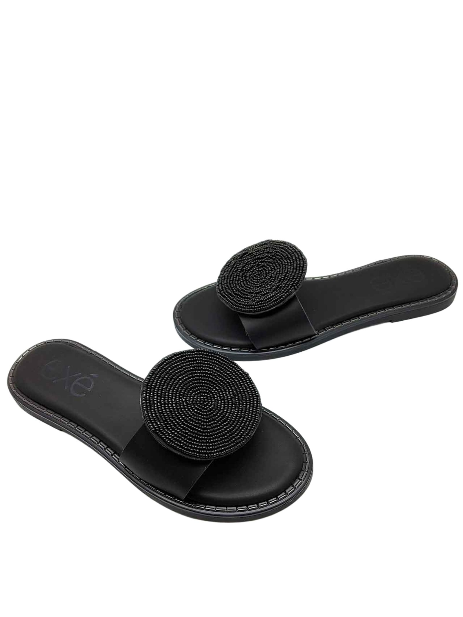 Women's Shoes Flat Sandals in Black Eco Leather with large Accessory of Matching Beads Exe   Flat sandals   353001