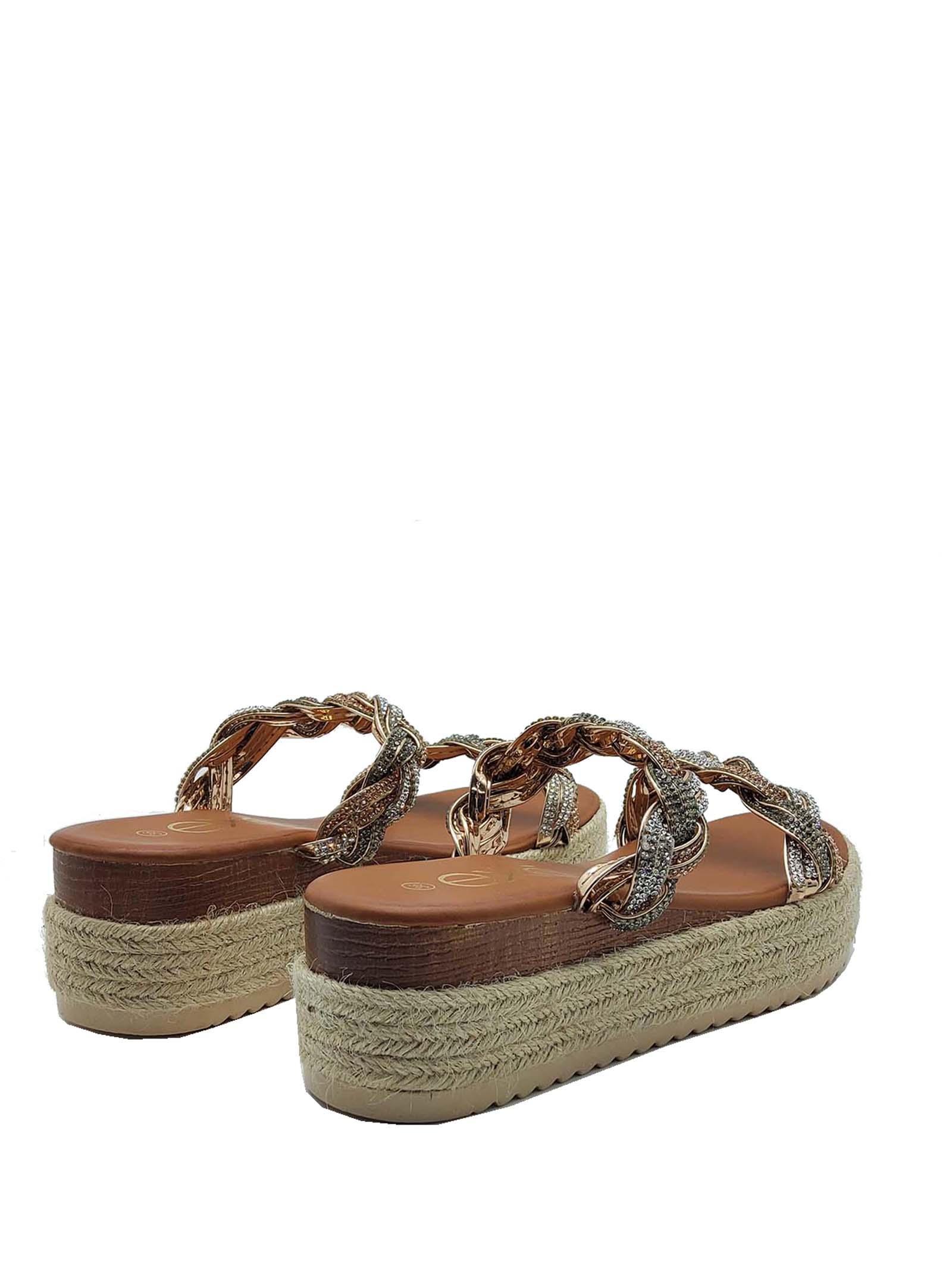 Calzature Donna Sandali Scalzati in Eco Pelle Cuoio con Doppia Treccia di Strass Multicolore e Zeppa in Corda Exe | Sandali Zeppa | 3584604