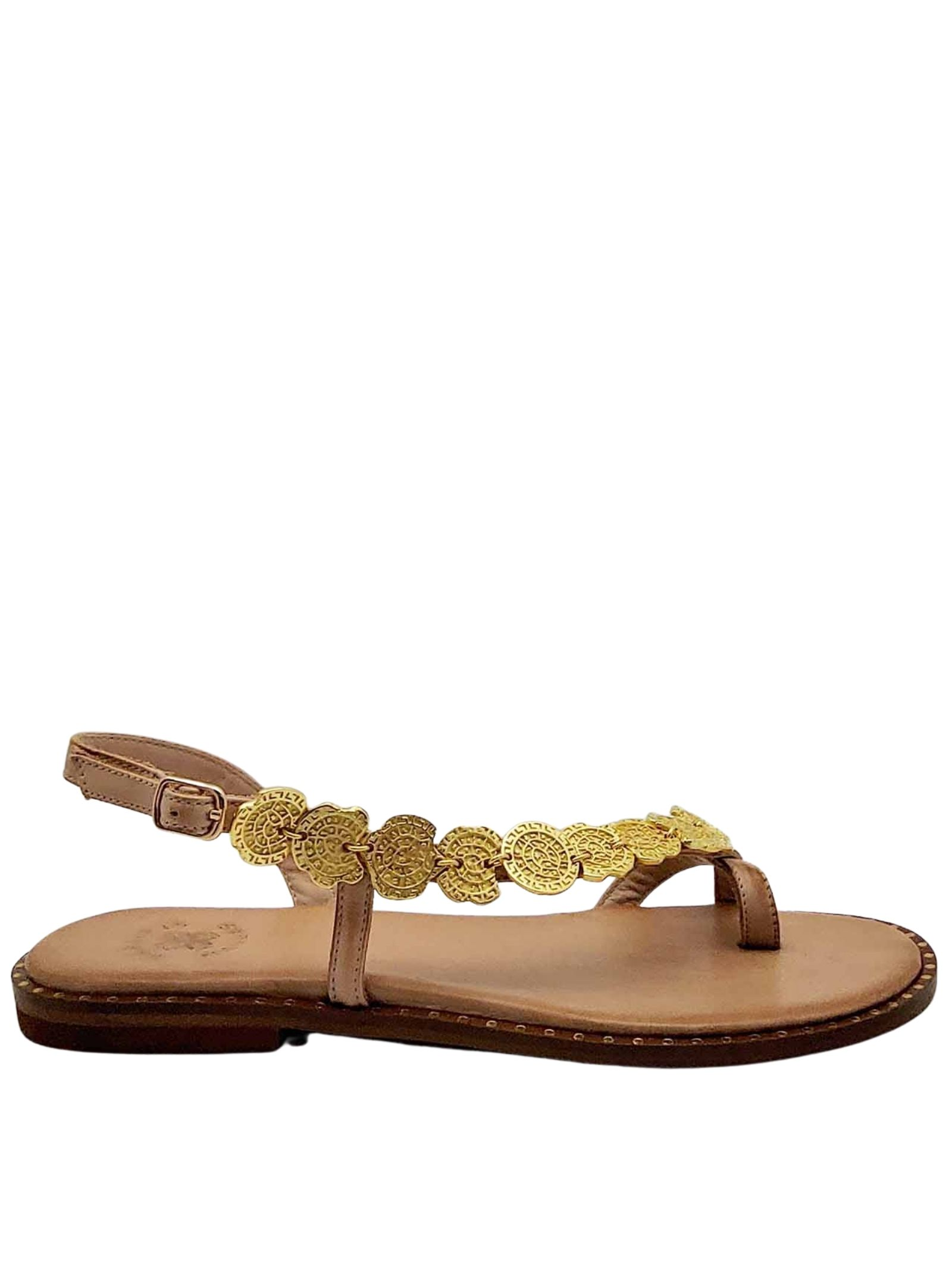 Women's Shoes Flat Flip Flops Sandals in Natural Leather Tan with Gold Accessories Ankle Strap and Rubber Bottom Exe | Flat sandals | 600300