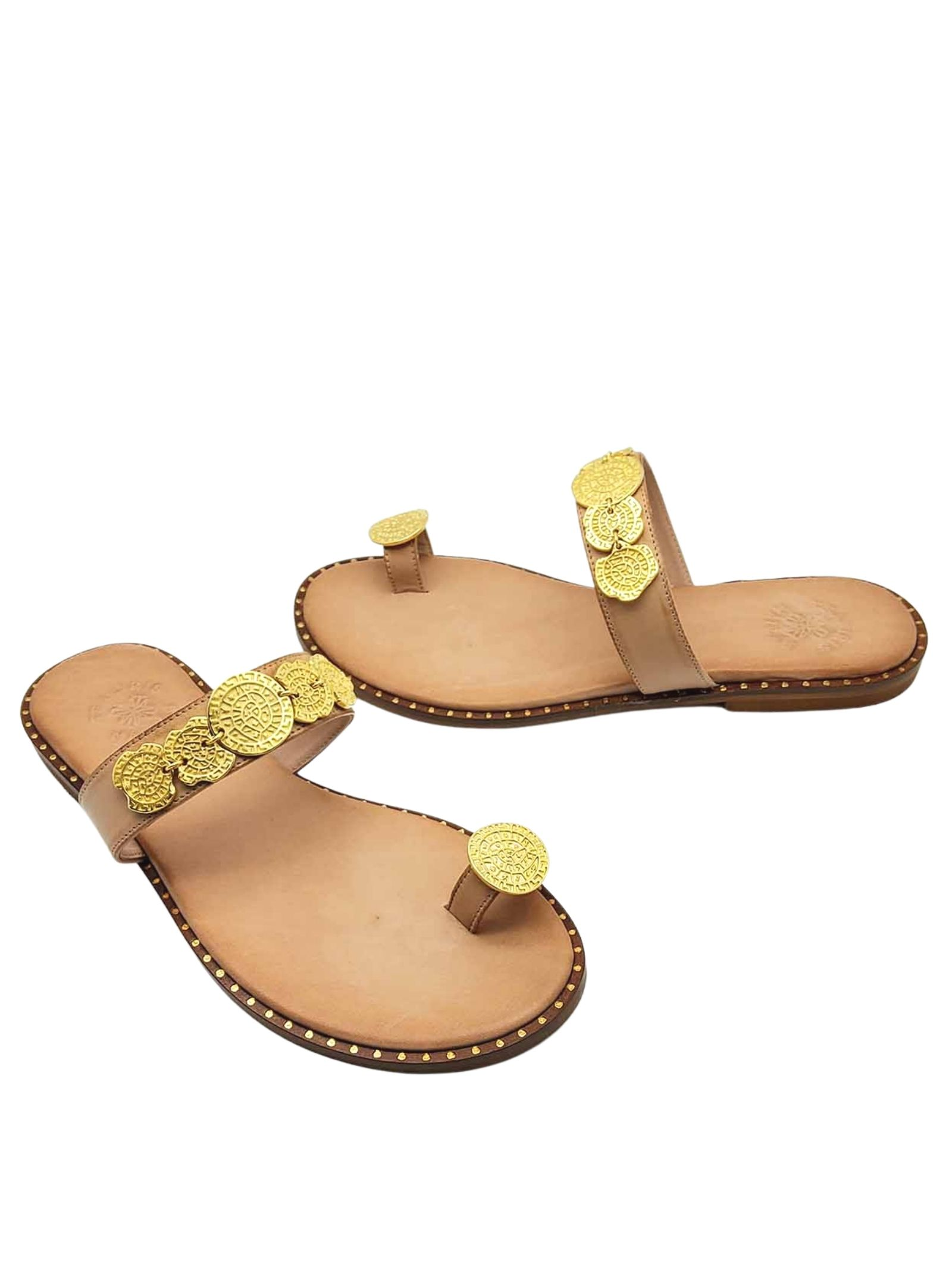 Women's Shoes Flat Flip Flops Sandals in Natural Leather with Gold Accessories and Rubber Bottom Exe | Flat sandals | 602013