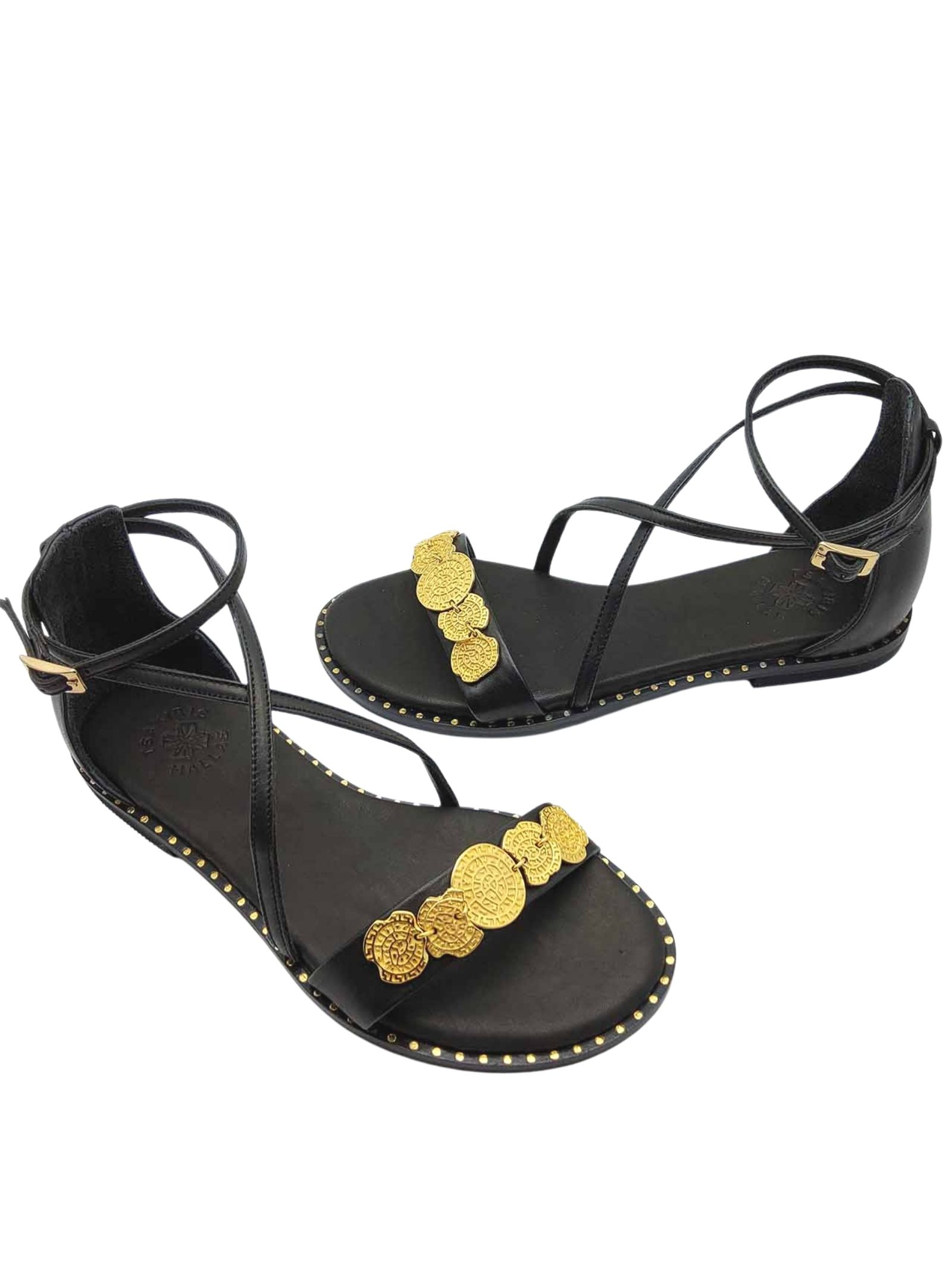 Women's Shoes Low Sandals in Black Leather with Gold Accessory Ankle Strap and Closed Heel Exe   Flat sandals   603001