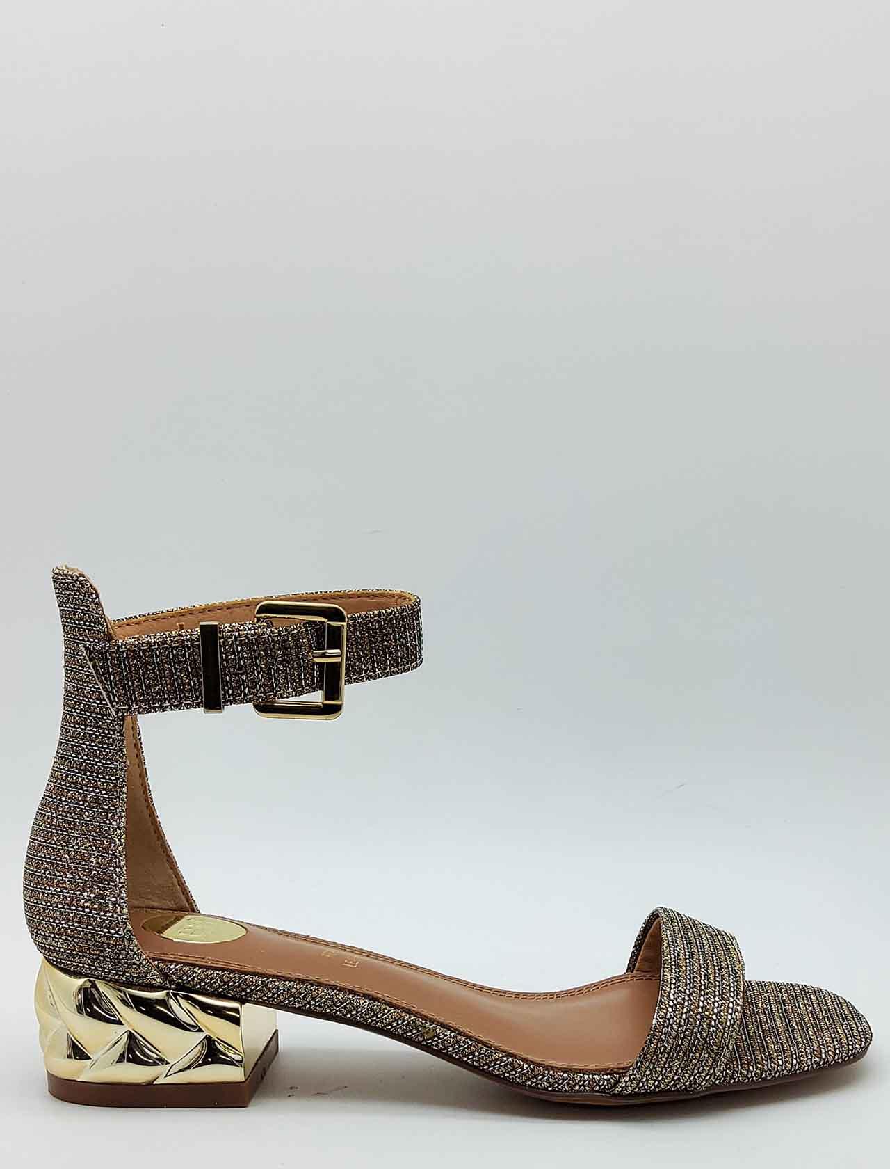 Calzature Donna Sandali in Tessuto Glitter Colore Champagne con Tacco Gioiello e Cinturino alla Caviglia Exe   Sandali   624607