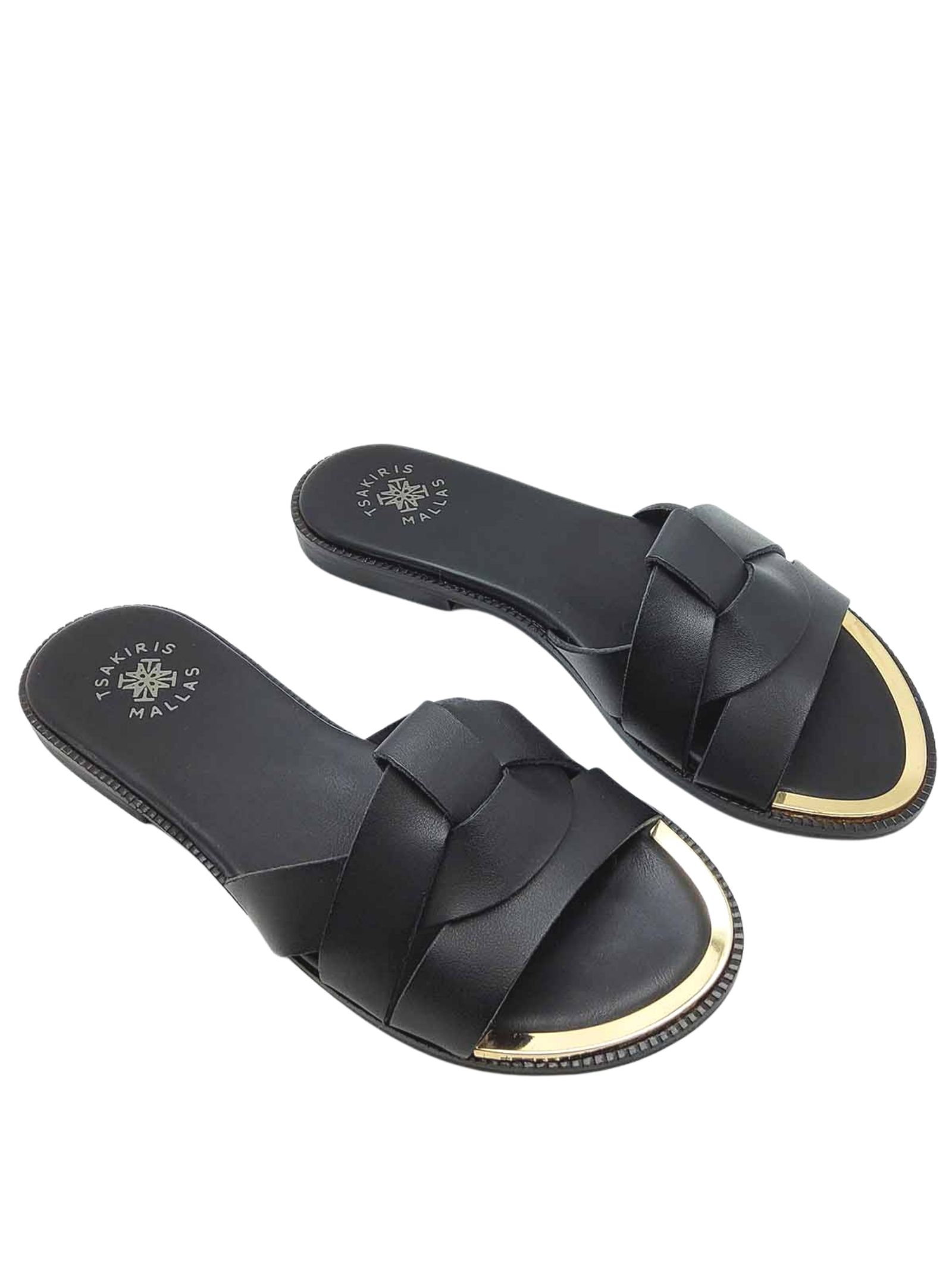 Women's Shoes Low Barefoot Sandal Black Braided Leather Slipper with Gold Metal Toe Exe   Flat sandals   703001
