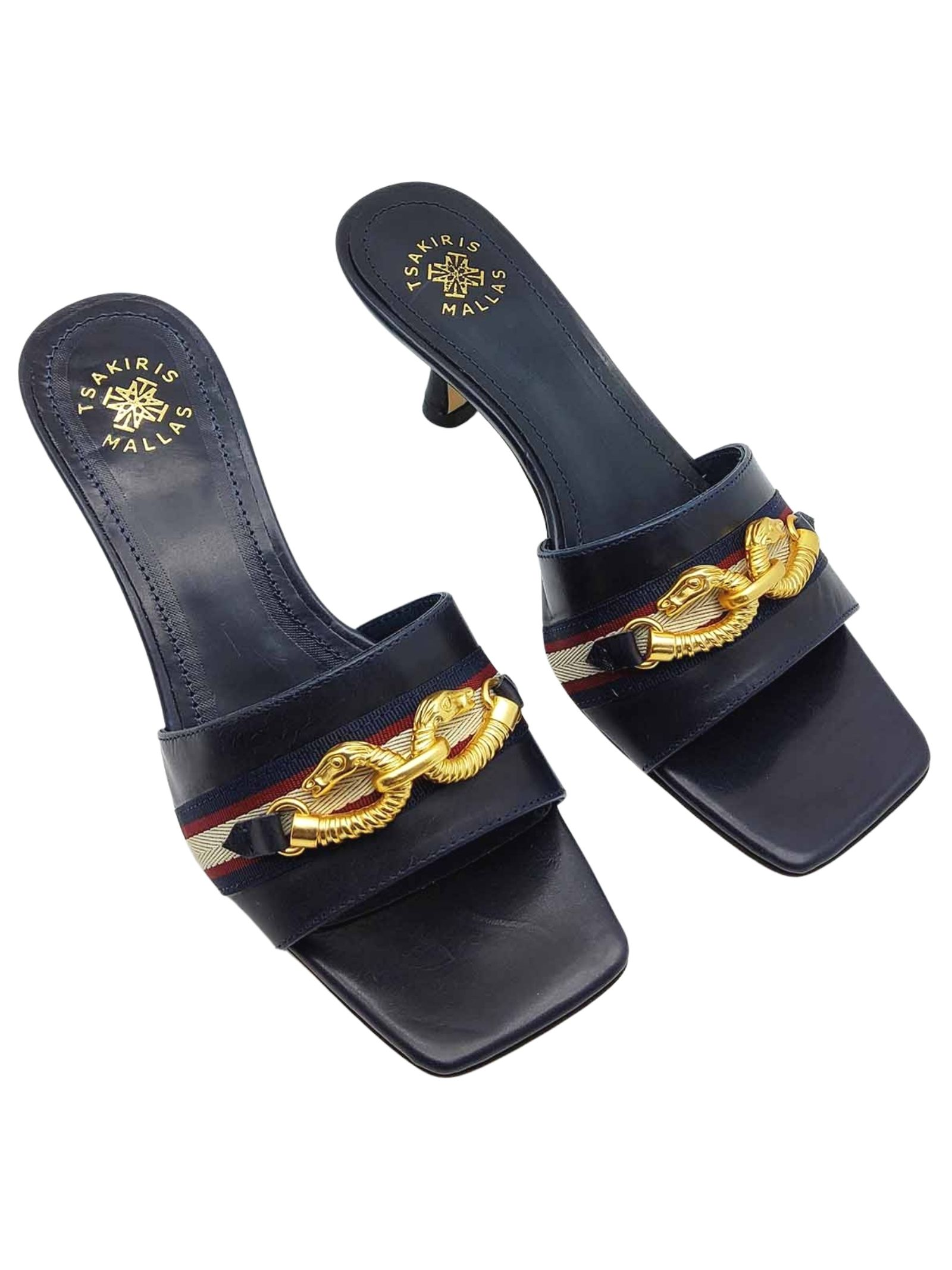 Women's Shoes Sandals Barefoot in Blue Leather Square Toe with Gold Accessory Exe   Sandals   705002
