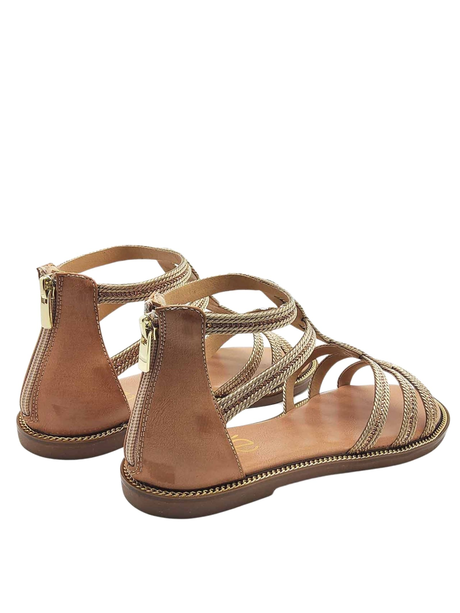 Women's Shoes Low Sandals in Nude Leather With Gold Embroidery Heel Closed with Back Zip Exe | Flat sandals | ARIANA150602