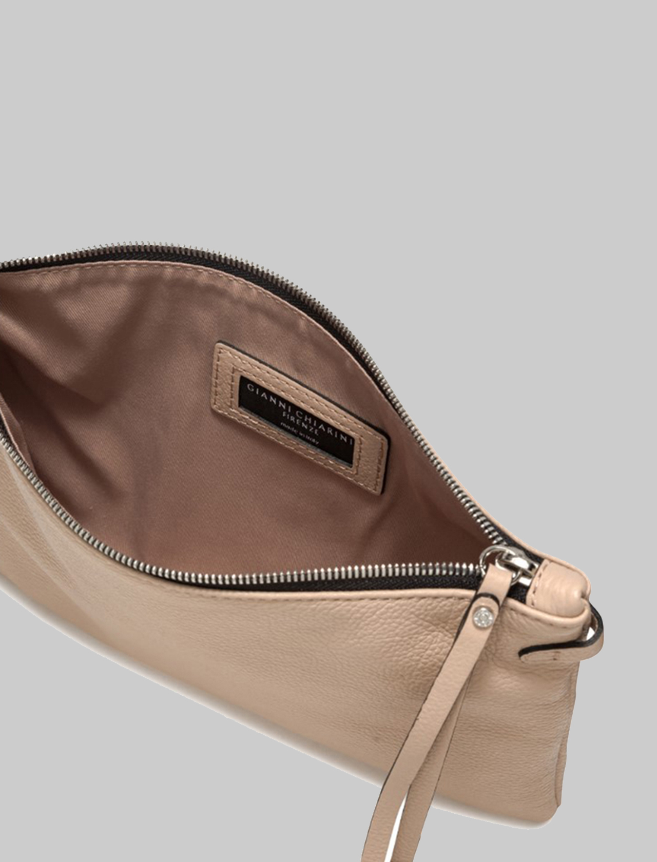 Hermy large women's clutch in beige leather with handle and adjustable and removable shoulder strap Gianni Chiarini | Bags and backpacks | BS369511706
