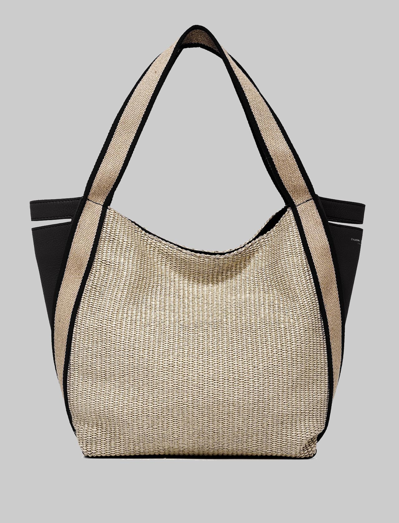 Asia Woman Shoulder Bag In Black Leather And Natural Fabric With Double Handles Gianni Chiarini | Bags and backpacks | BS7630698