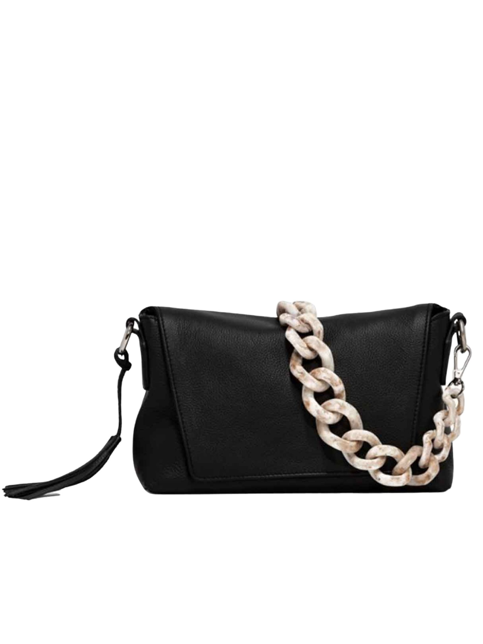 Africa Woman Shoulder Bag In Black Leather With Chain Handle And Adjustable And Removable Shoulder Strap Gianni Chiarini | Bags and backpacks | BS778611731