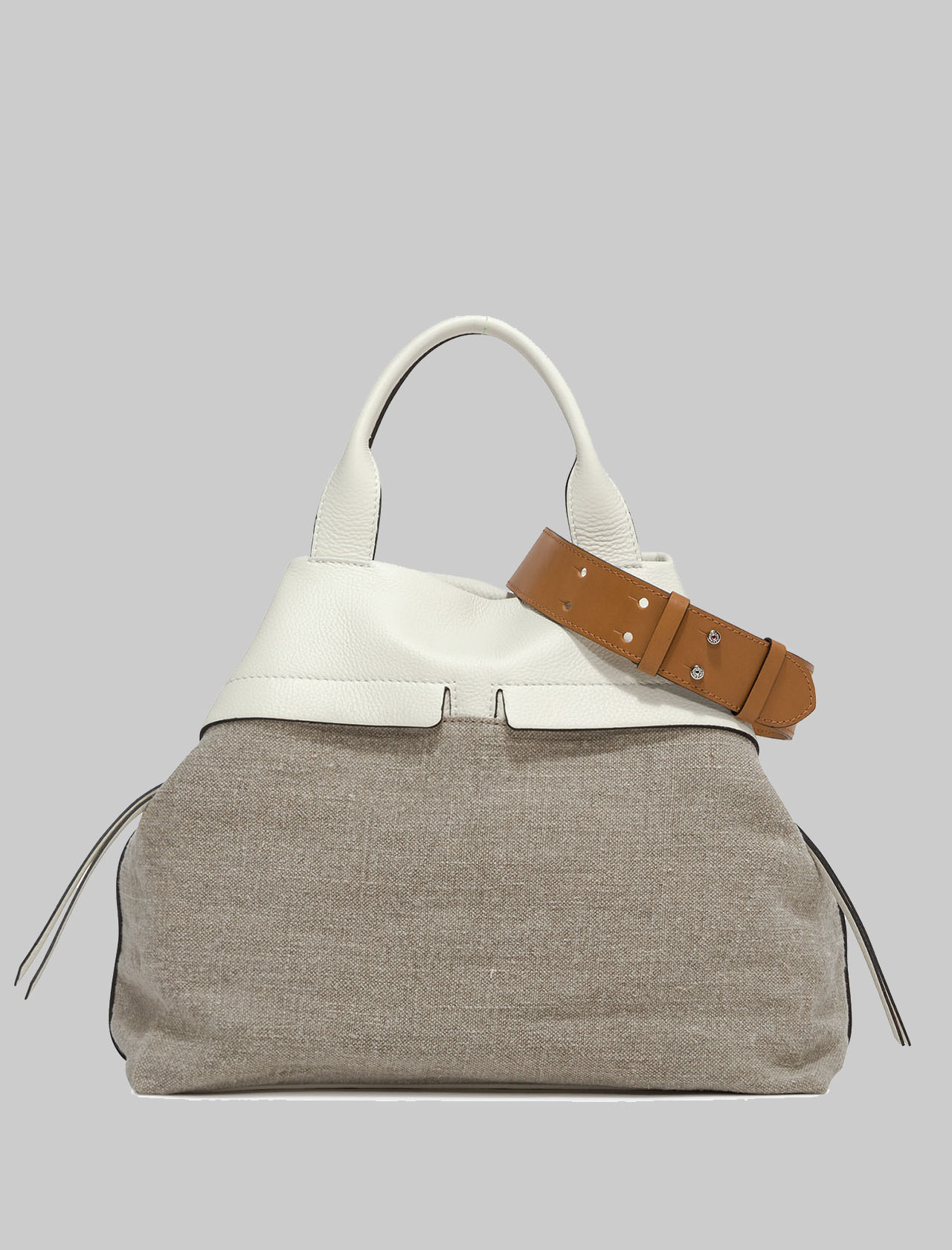 Duna Woman Shoulder Bag Natural Fabric And Cream Leather With Double Handle And Double Shoulder Strap Gianni Chiarini | Bags and backpacks | BS823211749