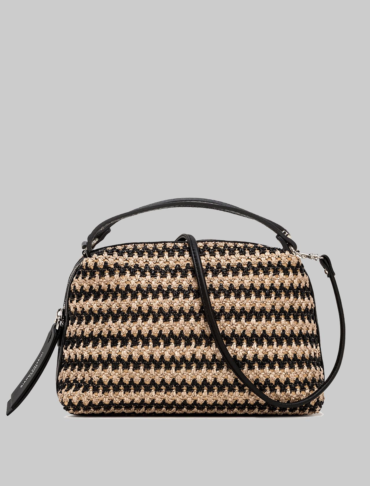 Alifa Women's Handbag In Natural And Black Woven Straw With Black Leather Inserts And Removable And Adjustable Shoulder Strap Gianni Chiarini | Bags and backpacks | BS825811819