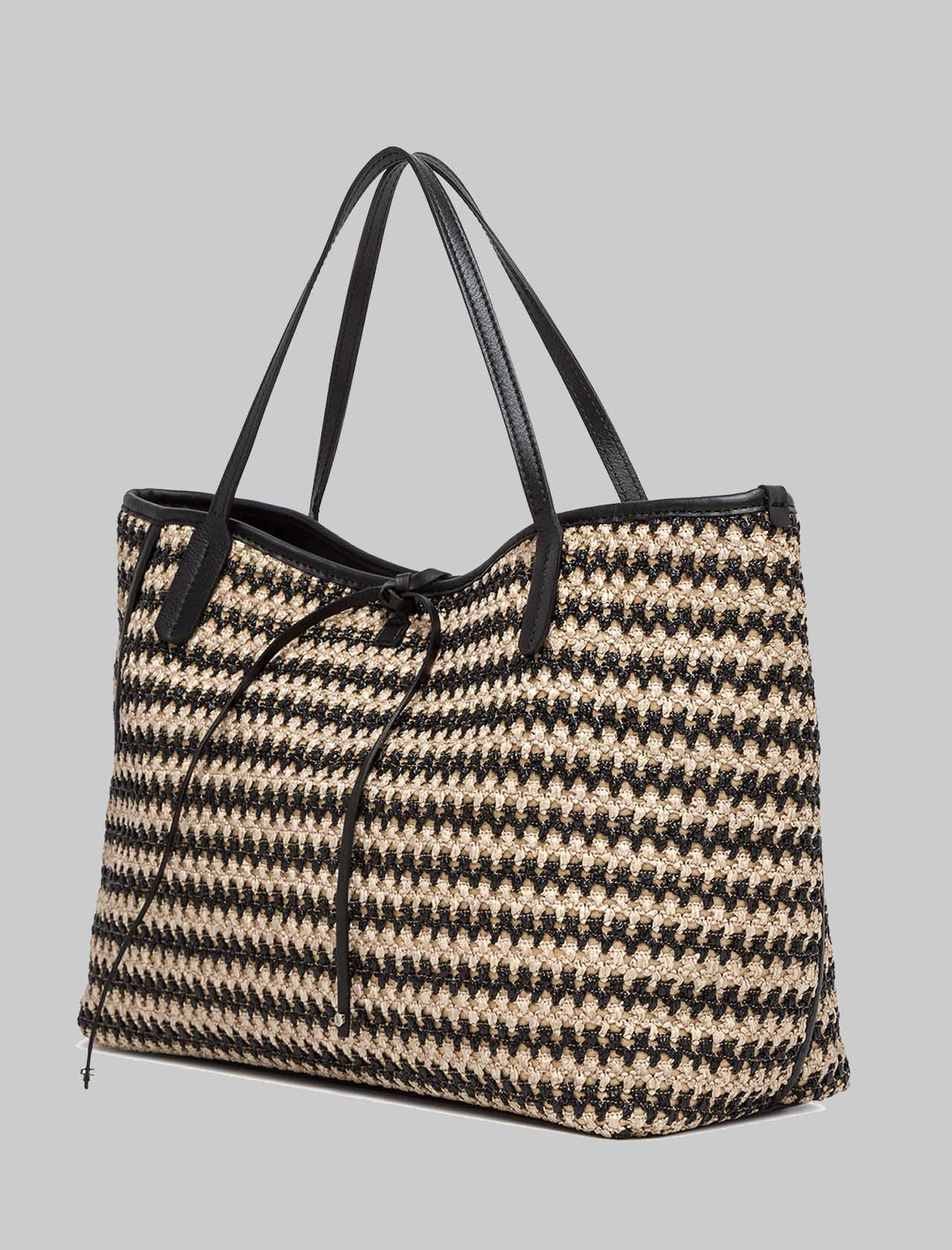 Ray woman shoulder bag in two-tone woven raffia with black leather inserts Gianni Chiarini | Bags and backpacks | BS835111819
