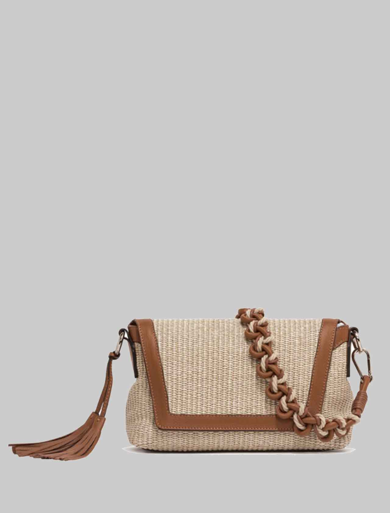 Africa Woman Shoulder Bag in Natural Fabric and Tan Leather Rope Handle and Adjustable and Removable Leather Shoulder Strap Gianni Chiarini   Bags and backpacks   BS83762436