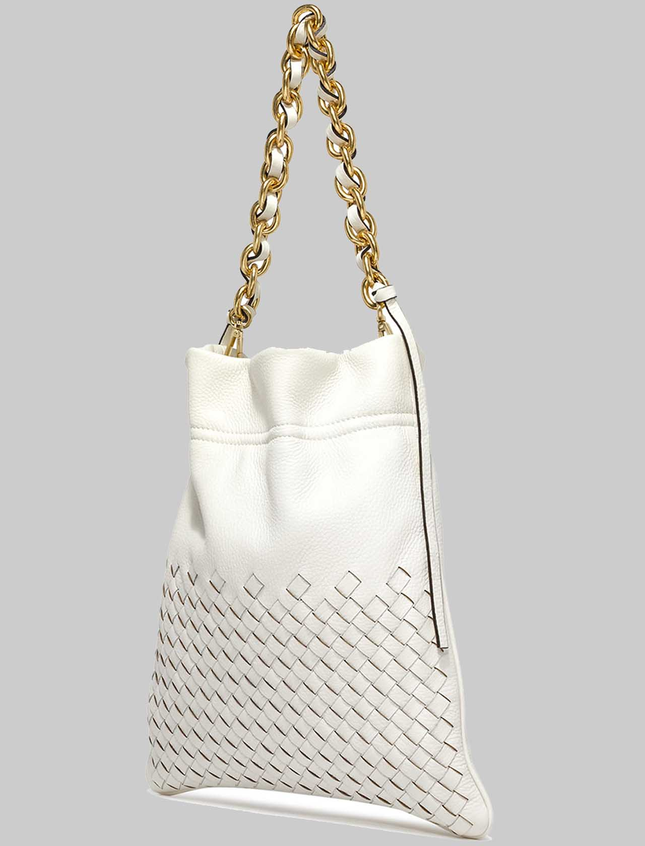 Small Memory Woman Shoulder Bag In Cream Braided Leather With Gold Chain Shoulder Strap Gianni Chiarini | Bags and backpacks | BS83813890