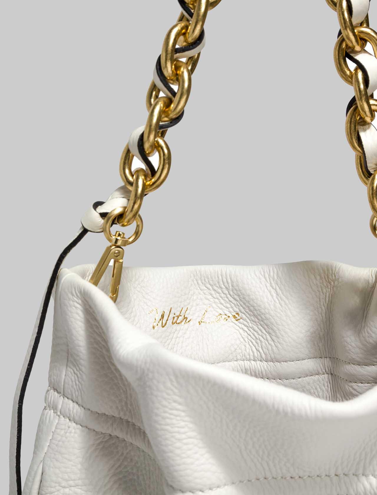 Borsa Donna Memory A Spalla In Pelle Intrecciata Panna Con Tracolla In Catena Oro Gianni Chiarini | Borse e zaini | BS83823890