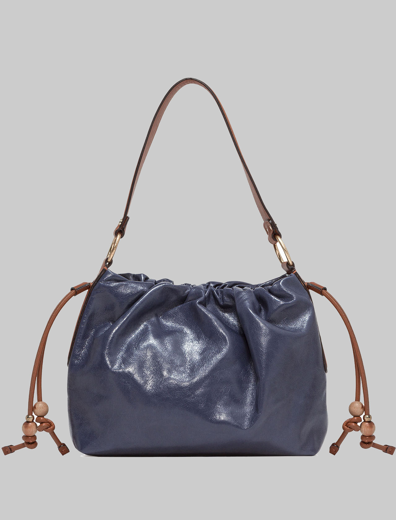 Peonia Woman Shoulder Bag In Blue Leather With Laces And Leather Shoulder Strap Gianni Chiarini | Bags and backpacks | BS84201394