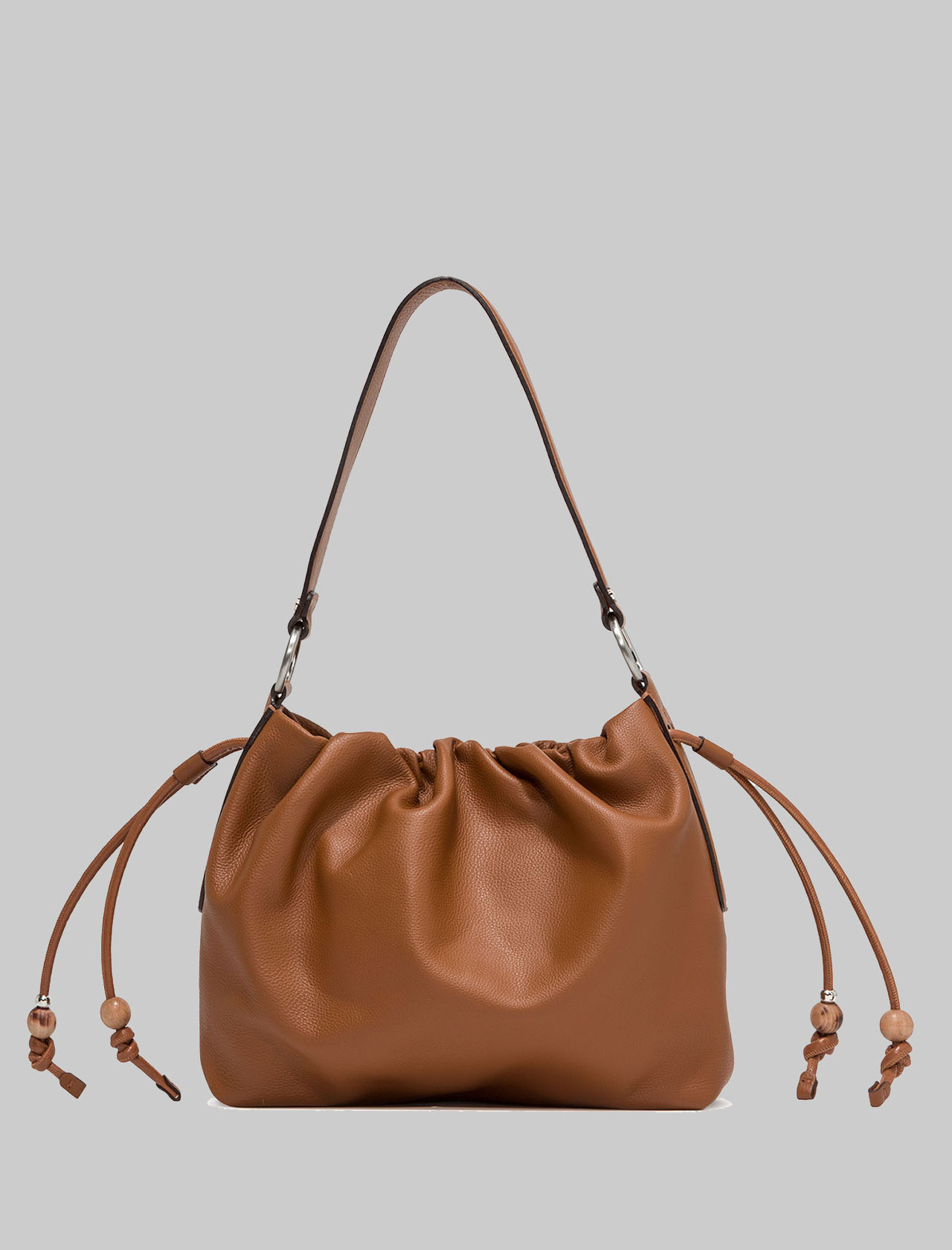 Woman's Peonia Shoulder Bag In Tan Leather With Laces And Leather Shoulder Strap Gianni Chiarini | Bags and backpacks | BS8420206