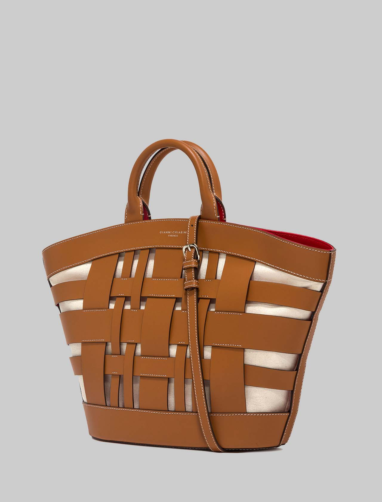 Gea Woman Bag in Braided Leather and Canvas with Hand Handles and Shoulder Strap Gianni Chiarini   Bags and backpacks   BS848611893
