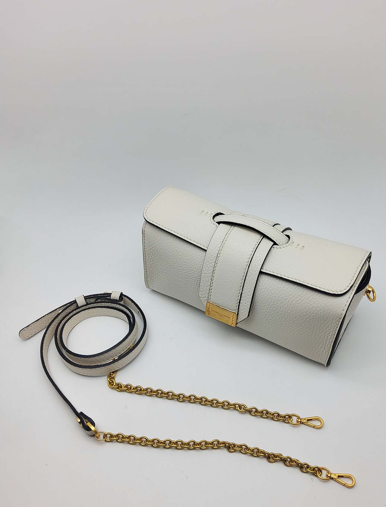 Gemma Shoulder Bag in Cream Leather with Shoulder Strap in Gold Chain and Matching Leather Gianni Chiarini | Bags and backpacks | BS84913890