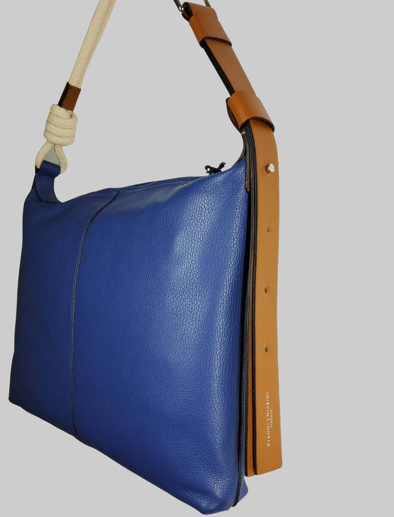 Medium Navy Woman Shoulder Bag In Blue Leather With Natural Rope Shoulder Strap Gianni Chiarini | Bags and backpacks | BS85056241