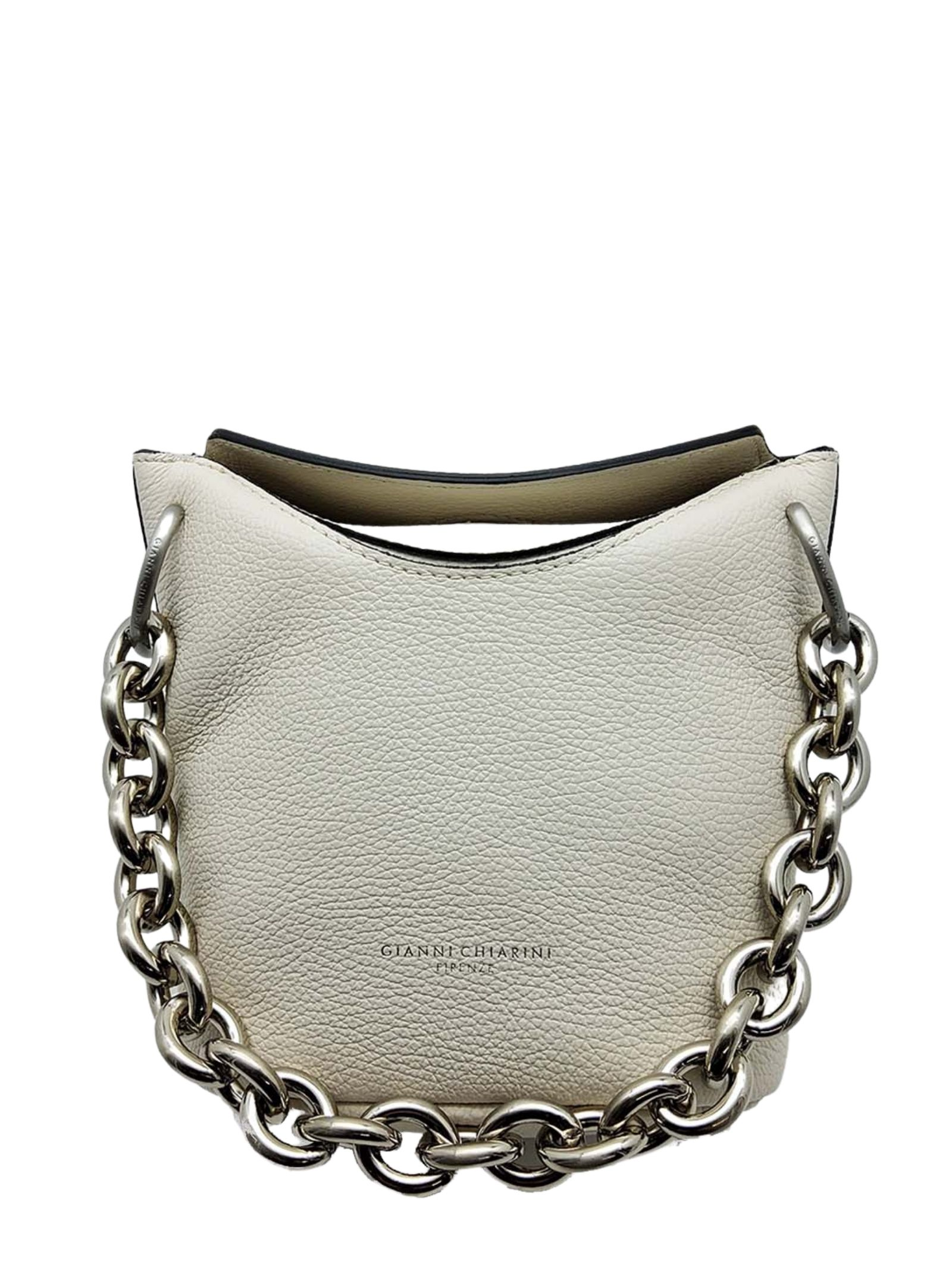 Women's Mini Sophia Satchel Bag In Cream Leather With Silver Chain And Adjustable And Removable Shoulder Strap Gianni Chiarini | Bags and backpacks | BS85153890
