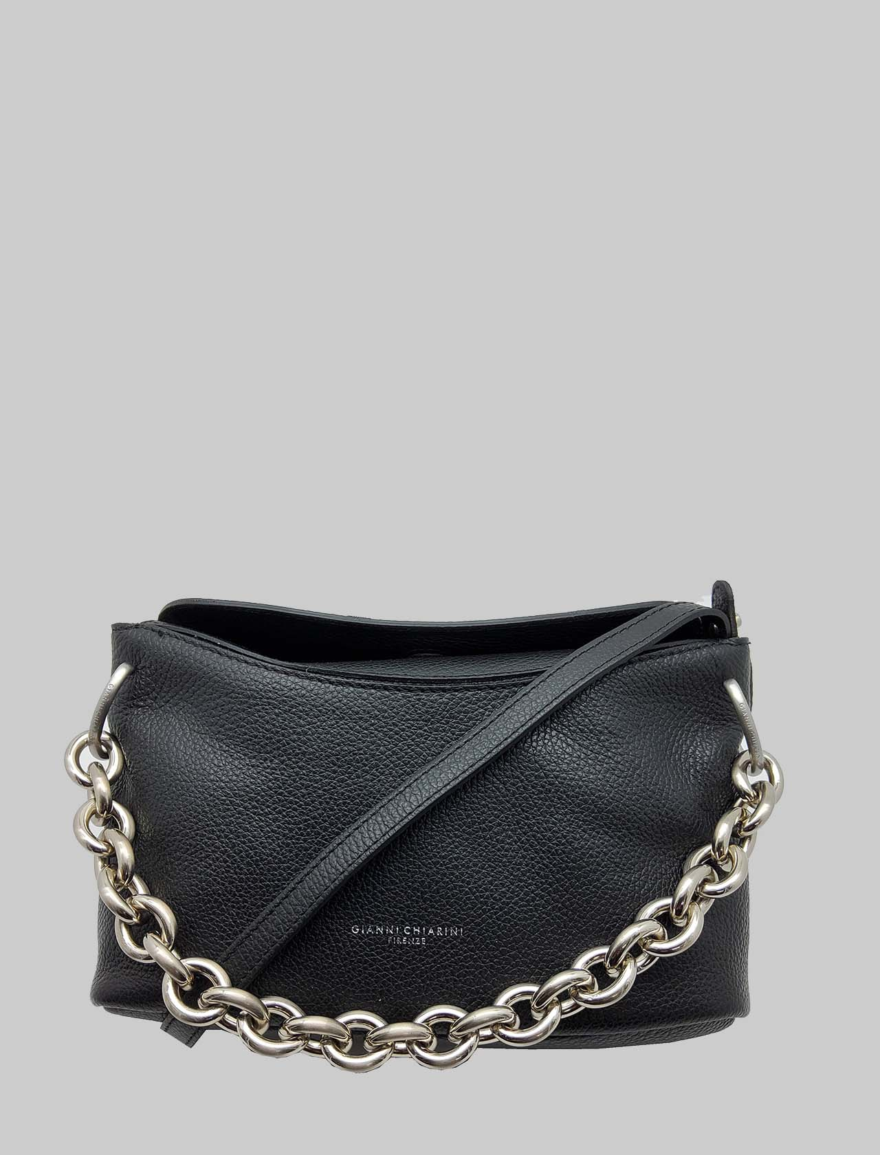 Sophia Woman Shoulder Bag In Black Leather And Silver Chain With Adjustable And Removable Shoulder Strap Gianni Chiarini | Bags and backpacks | BS8516001