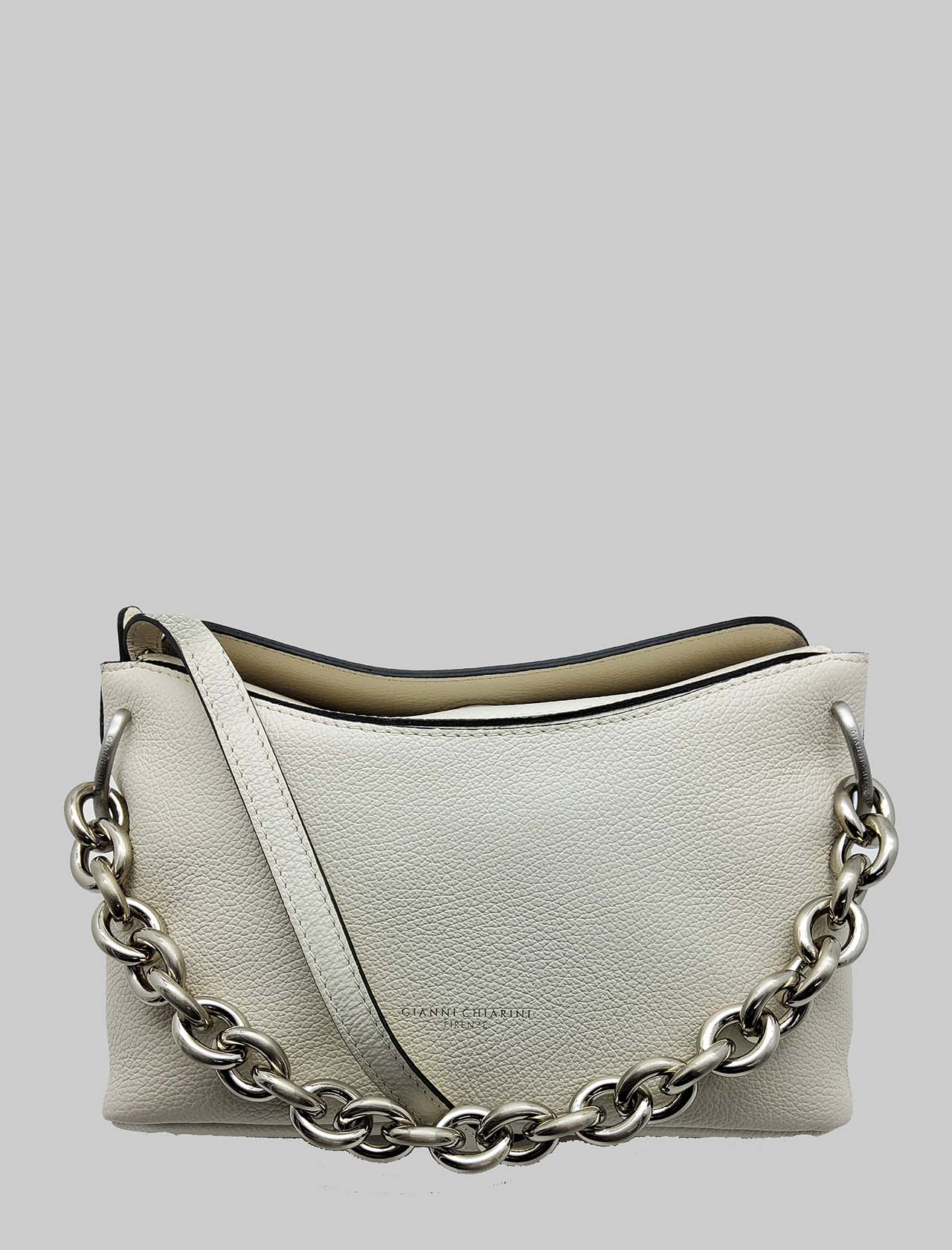 Sophia Woman Shoulder Bag In Cream Leather And Silver Chain With Adjustable And Removable Shoulder Strap Gianni Chiarini | Bags and backpacks | BS85163890