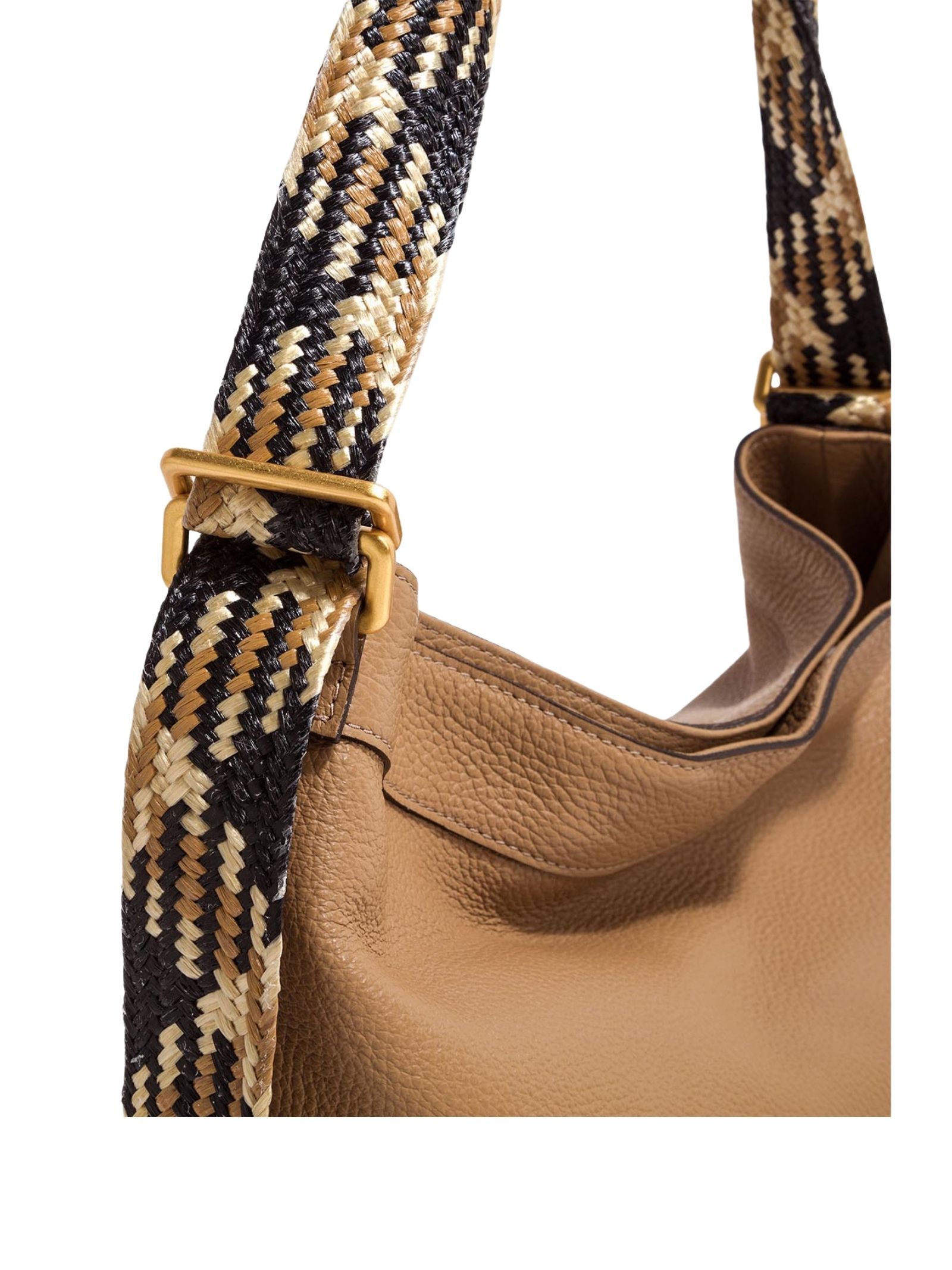 Amaranta Woman Shoulder Bag In Cappuccino Leather With Multicolored Fabric Handle Gianni Chiarini   Bags and backpacks   BS85210226