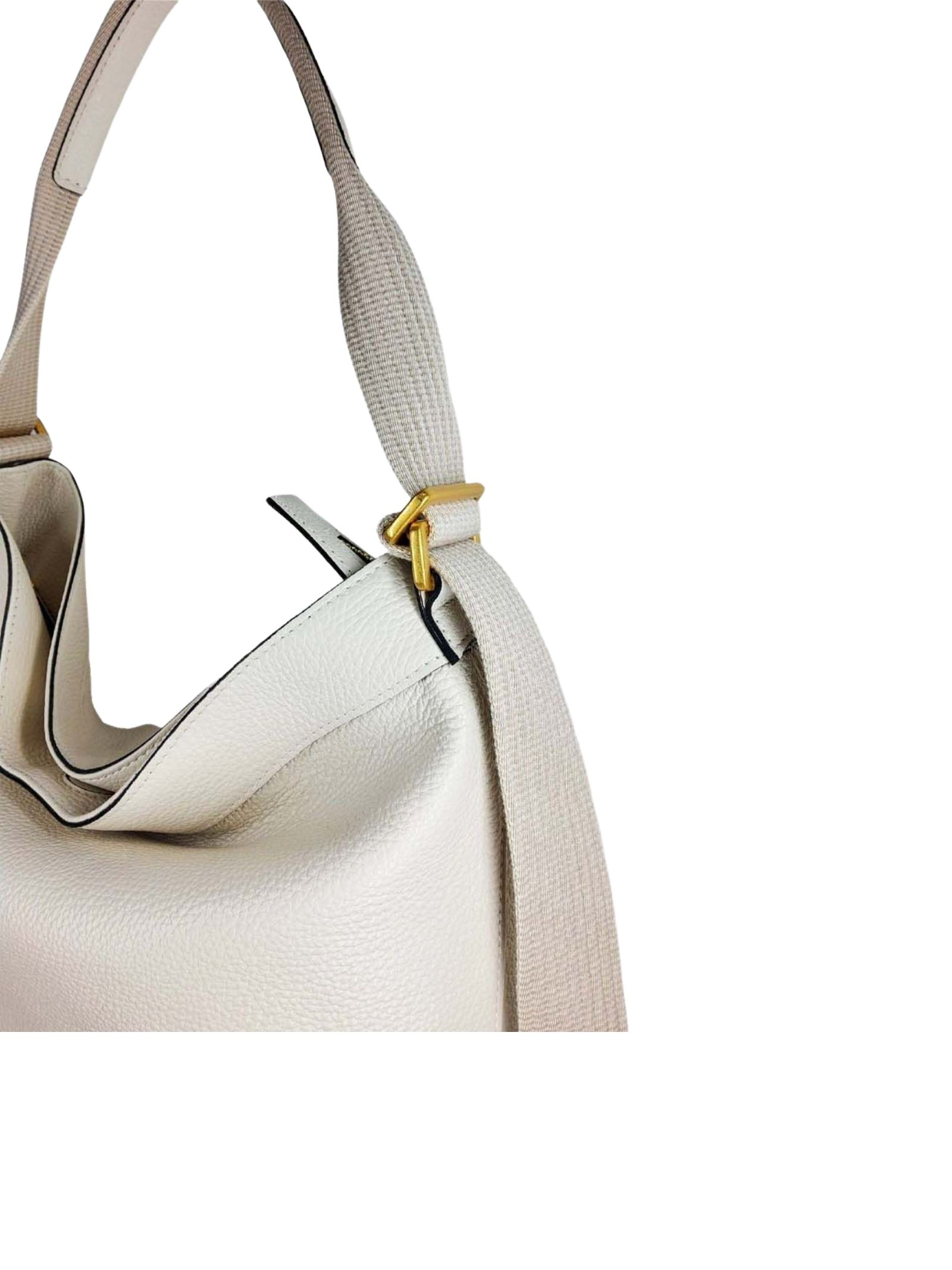 Amaranta Woman Shoulder Bag In Cream Leather With Dyed-On-Color Fabric Handle Gianni Chiarini   Bags and backpacks   BS85213890