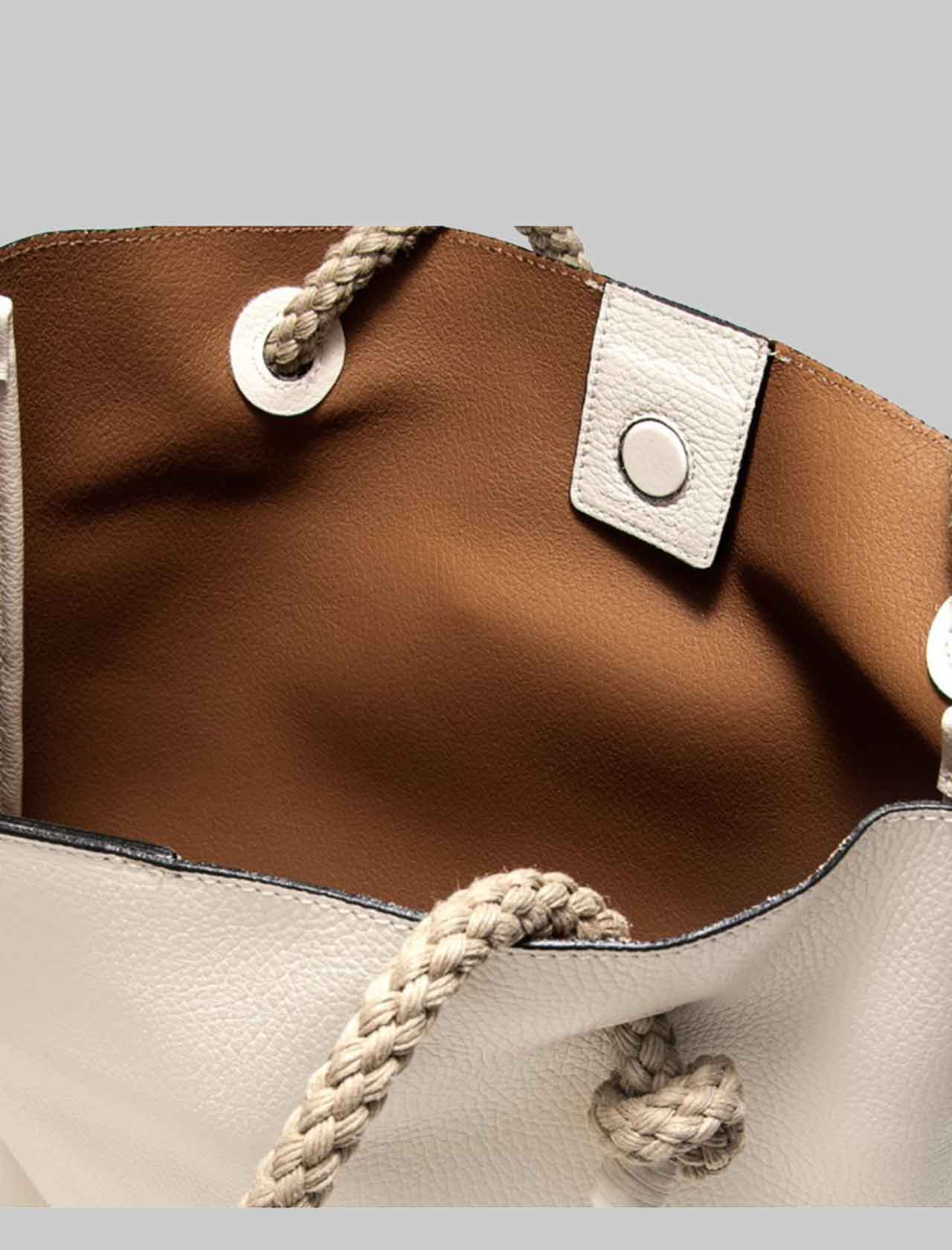 Woman Shoulder Bag Light Blue in Soft Cream Leather with Natural Rope Handles Gianni Chiarini | Bags and backpacks | BS853011764