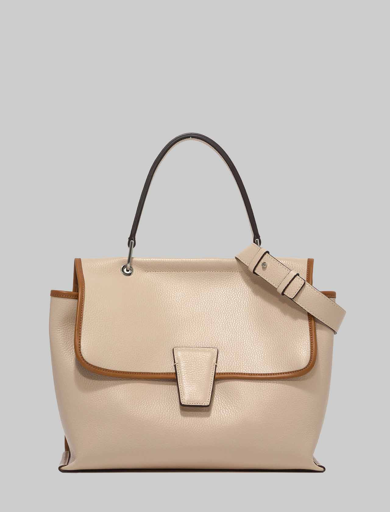 Woman Elettra Shoulder Bag in Cream Leather and Leather Carryover with Adjustable and Removable Shoulder Strap Gianni Chiarini   Bags and backpacks   BS863211764